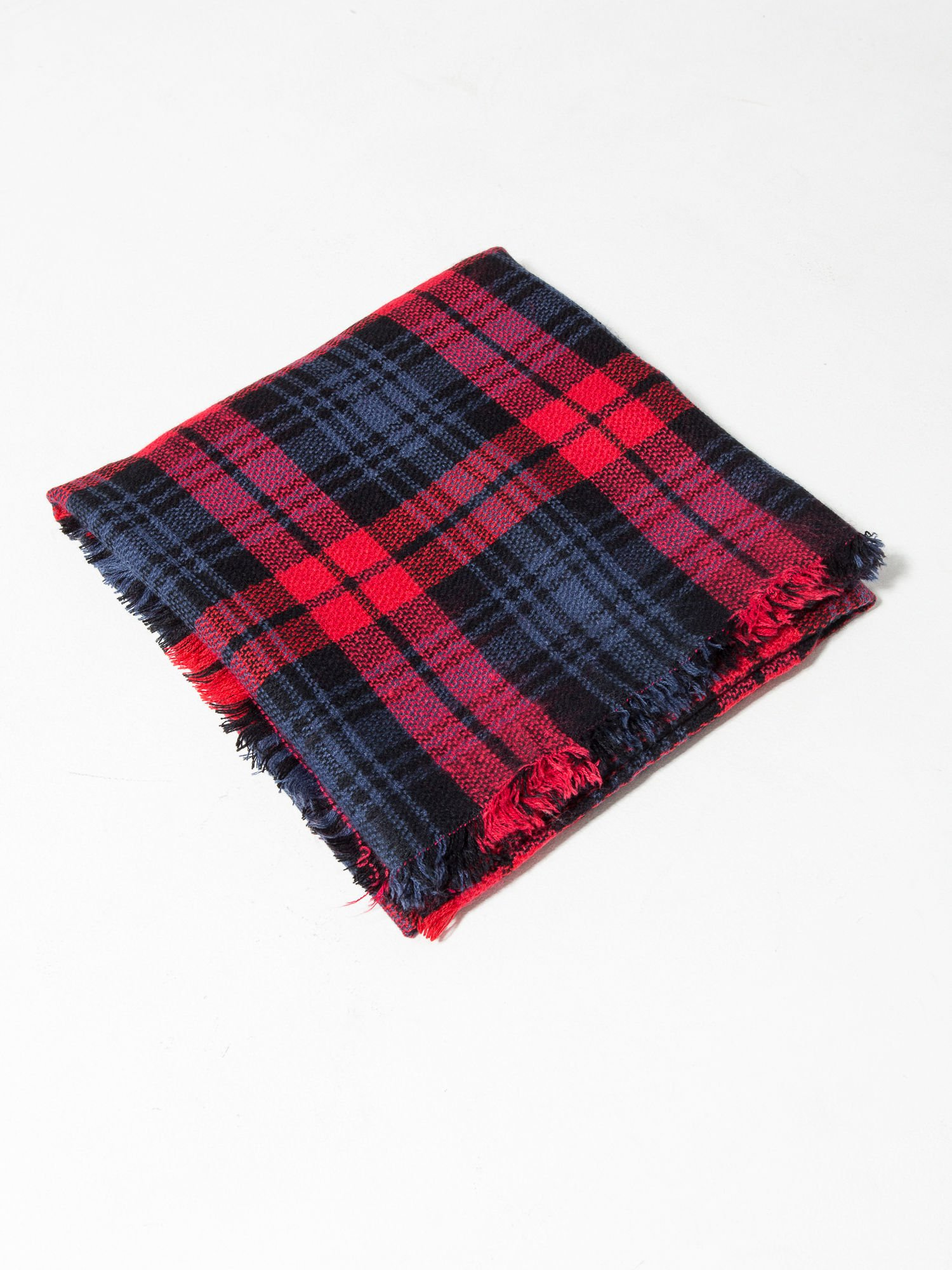 Granatowo-czerwony szalik damski w kratę                                  zdj.                                  8