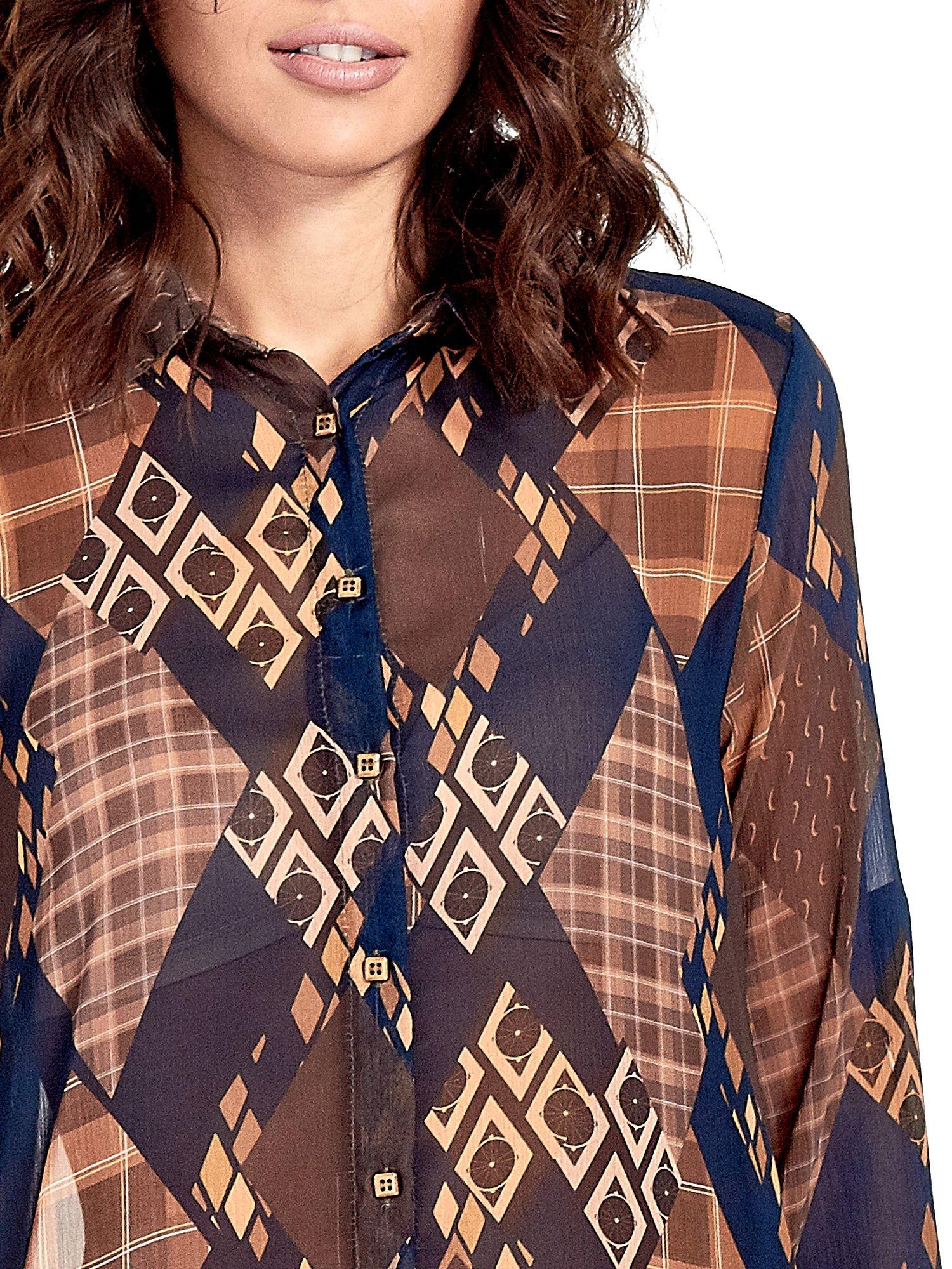 Granatowo-pomarańczowa długa koszula mgiełka w patchworkowy print                                  zdj.                                  6