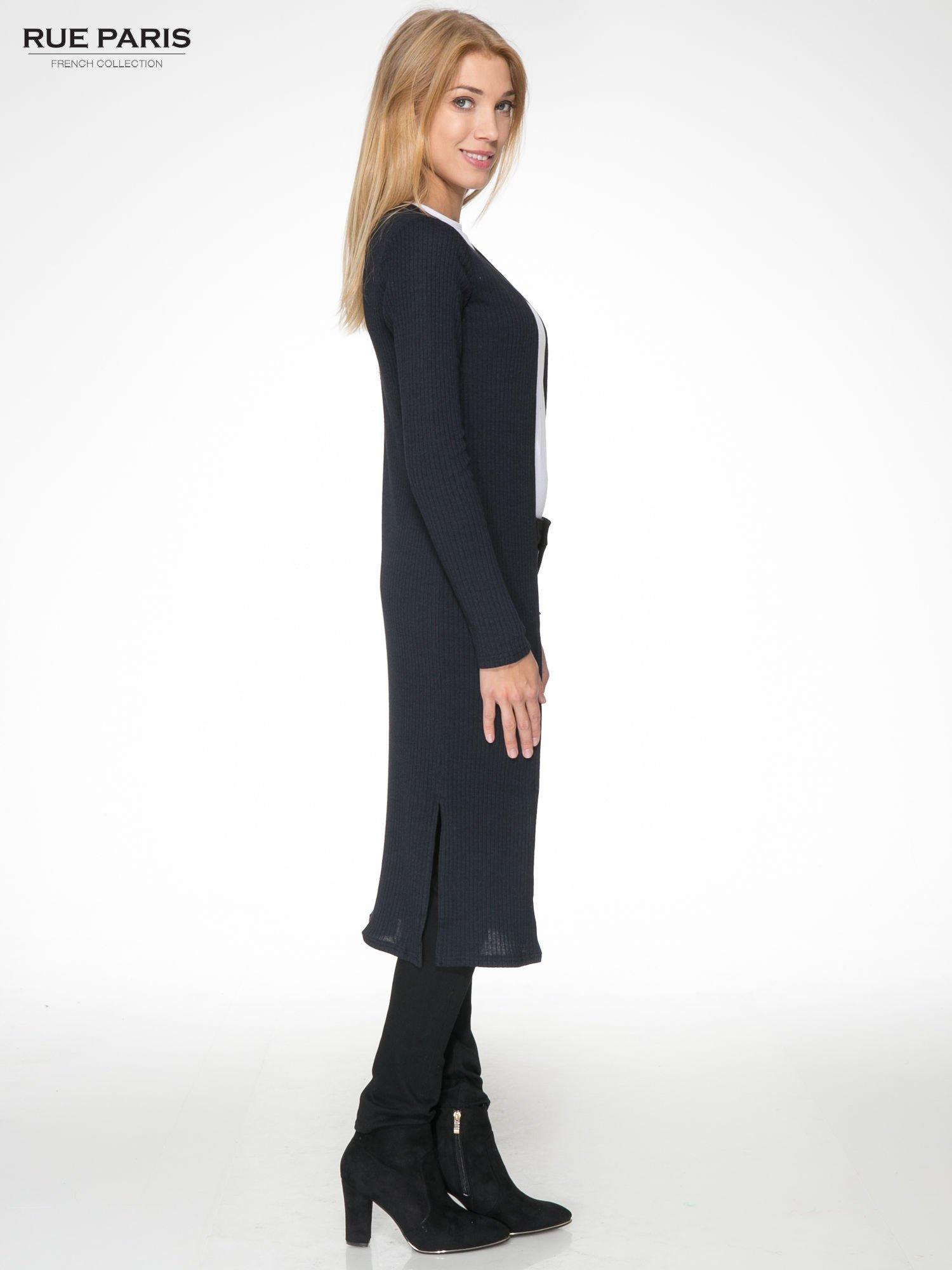 Granatowy długi prążkowany sweter kardigan                                  zdj.                                  3