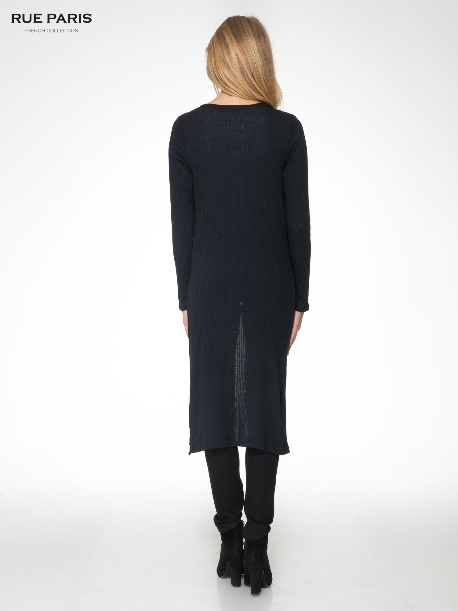 Granatowy długi prążkowany sweter kardigan                                  zdj.                                  4