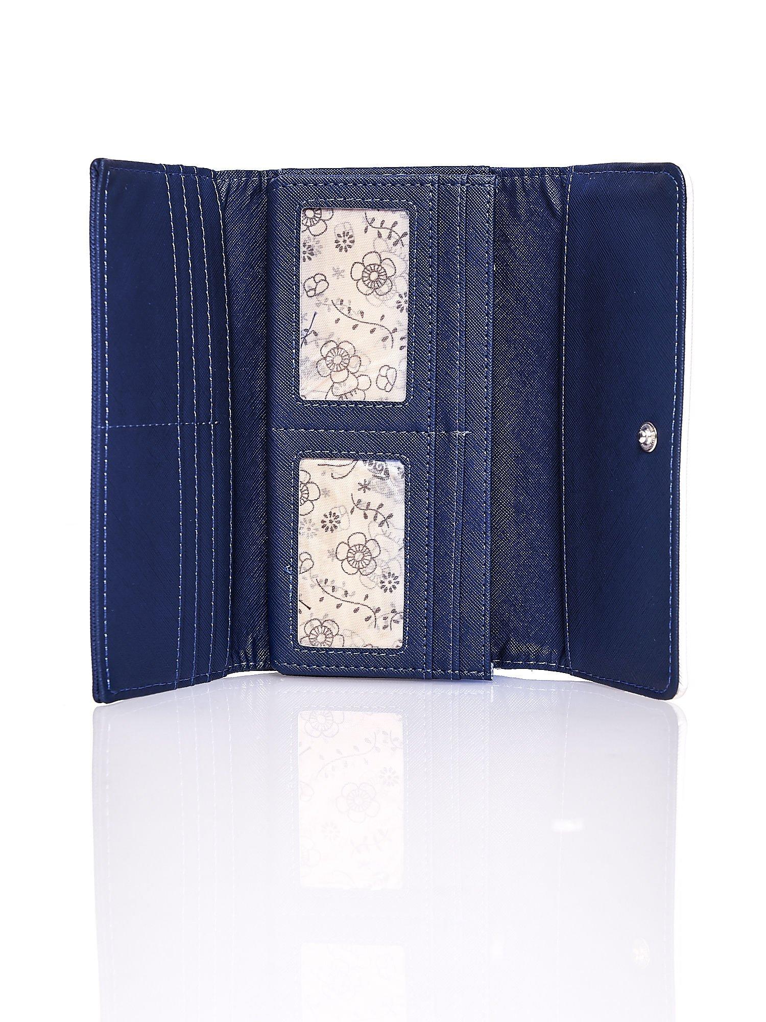 Granatowy portfel z białym wykończeniem                                  zdj.                                  4