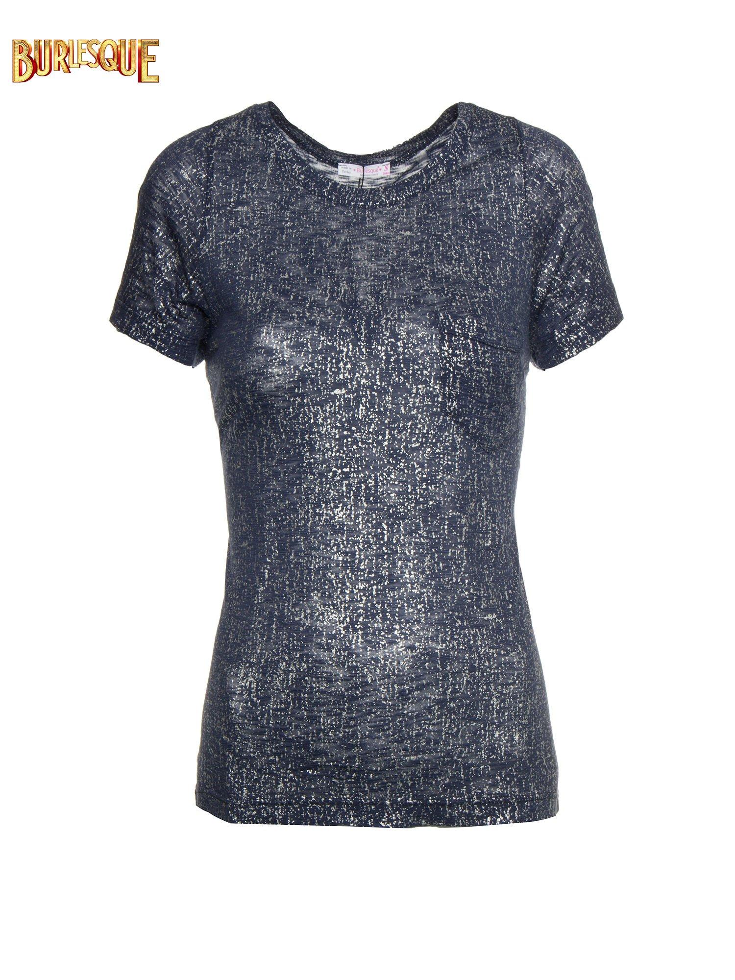 Granatowy t-shirt w srebrne plamki                                  zdj.                                  1
