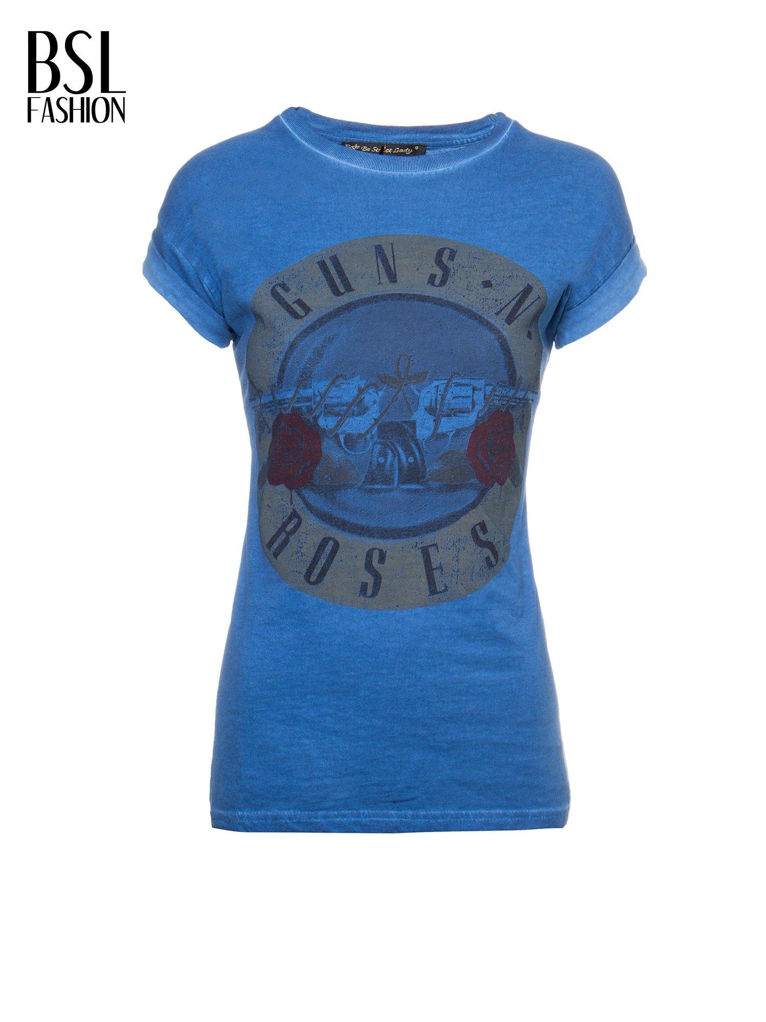 Granatowy t-shirt z nadrukiem GUNS N' ROSES                                  zdj.                                  2