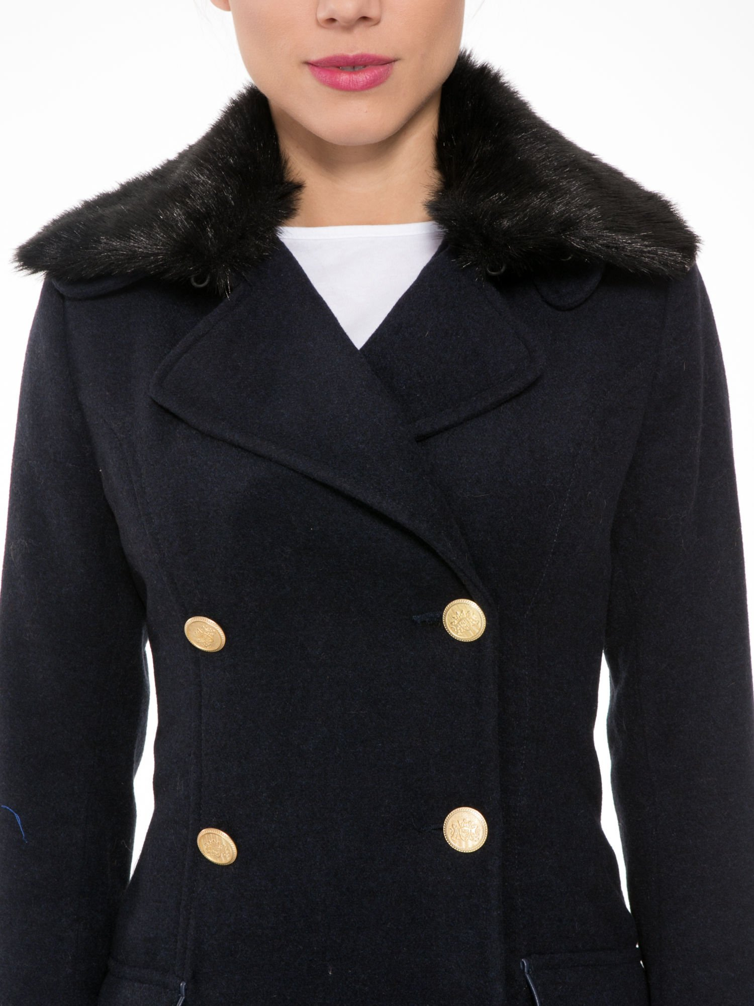 Granatowy wełniany płaszcz dwurzędowy z futrzanym kołnierzem                                  zdj.                                  5