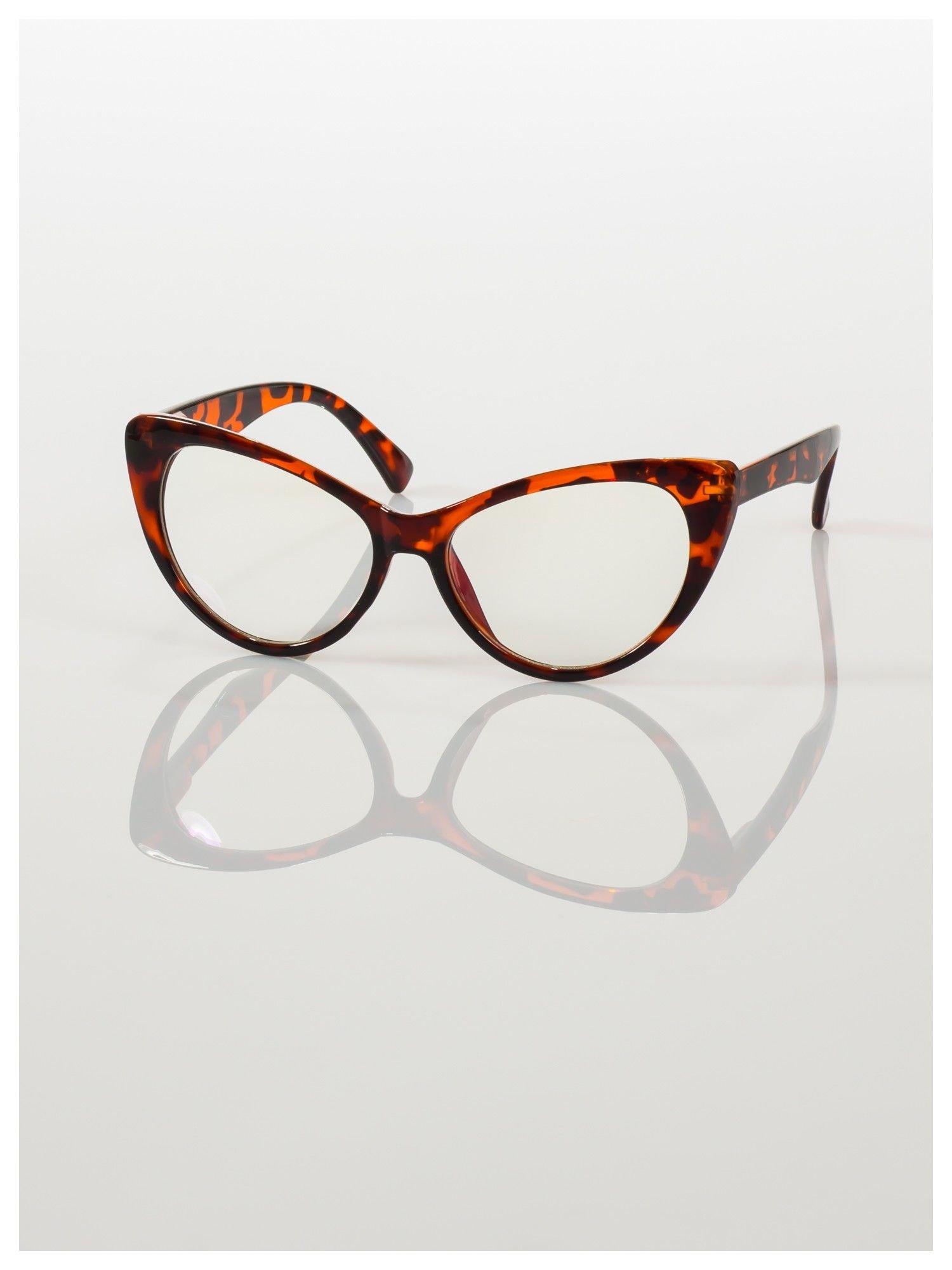 HIT 2016 Modne okulary zerówki typu KOCIE OCZY w stylu Marlin Monroe; soczewki ANTYREFLEKS+system FLEX na zausznikach                                  zdj.                                  2