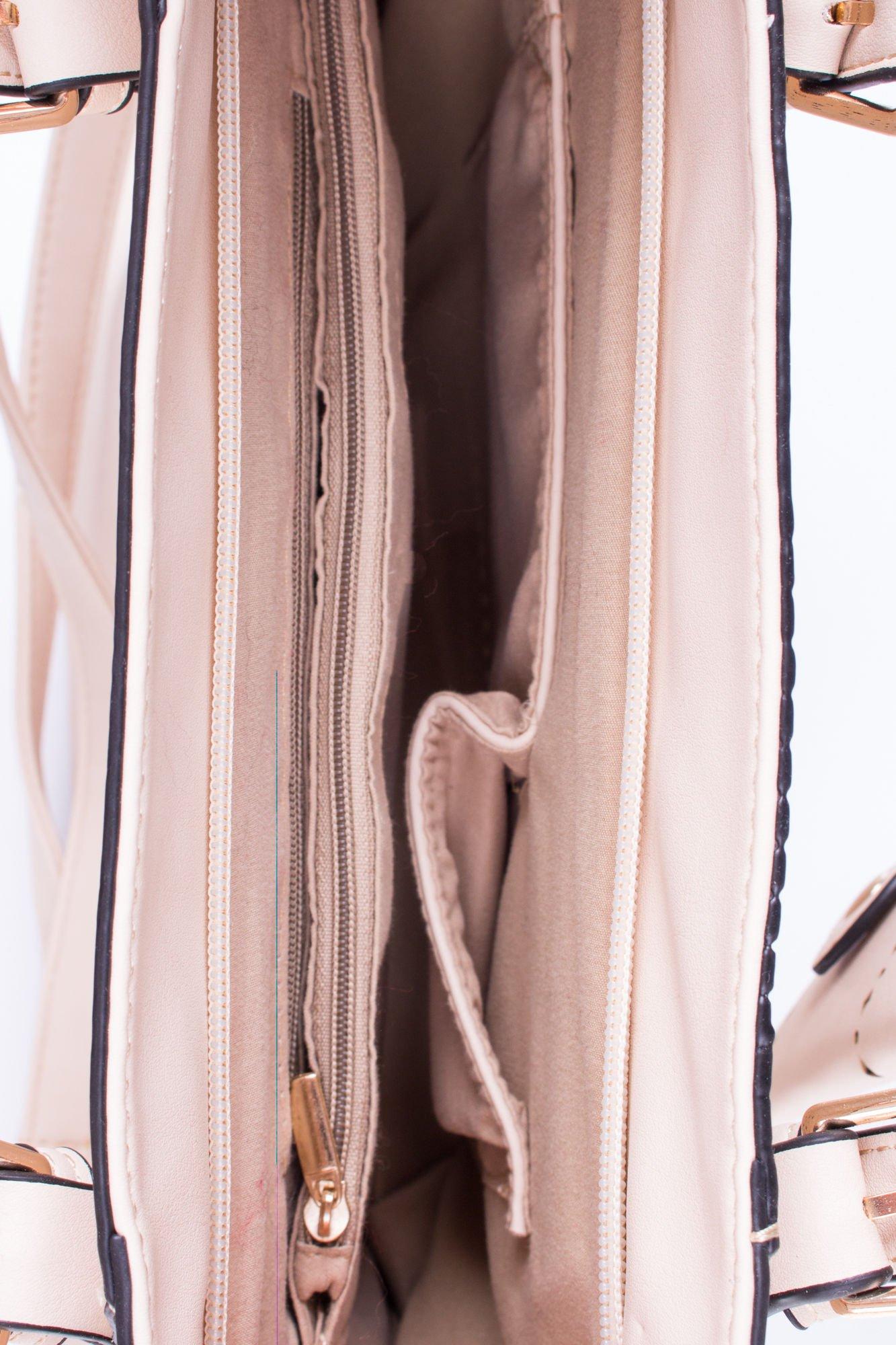 Jasnobeżowa dziurkowana torba shopper z portfelem                                  zdj.                                  5