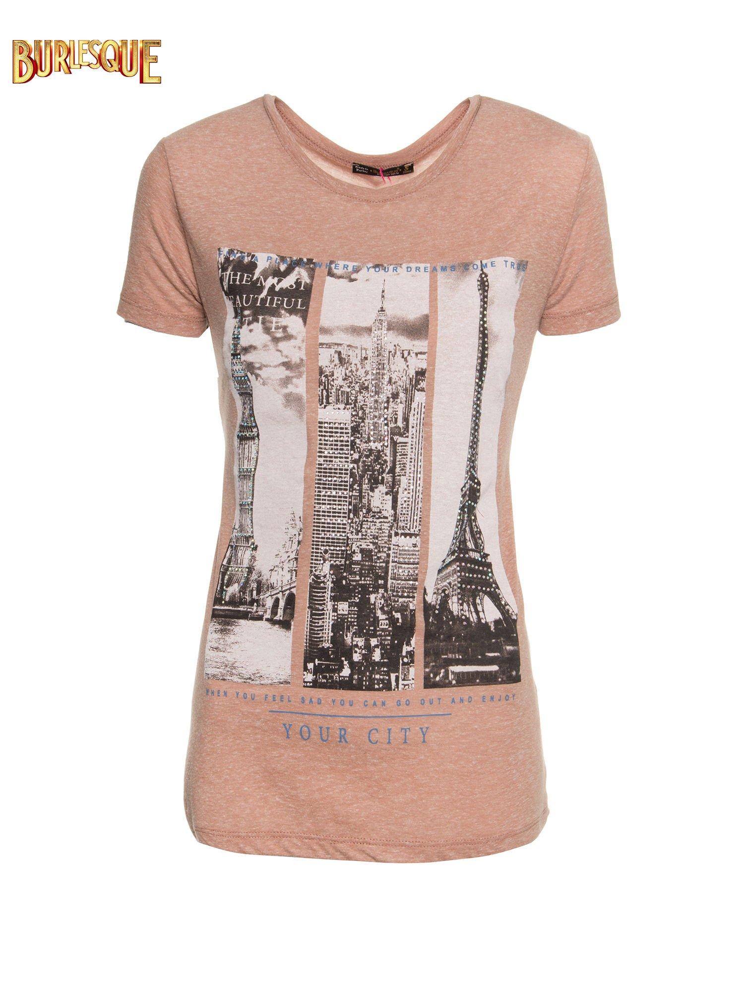 Jasnobordowy t-shirt z fotografiami miast                                  zdj.                                  1