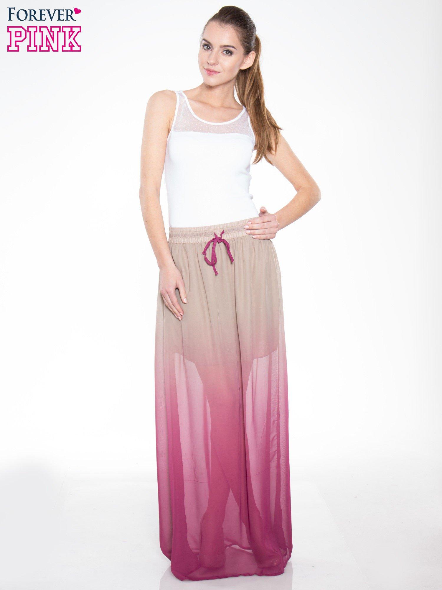 Jasnobrązowa długa spódnica maxi z efektem ombre                                  zdj.                                  4