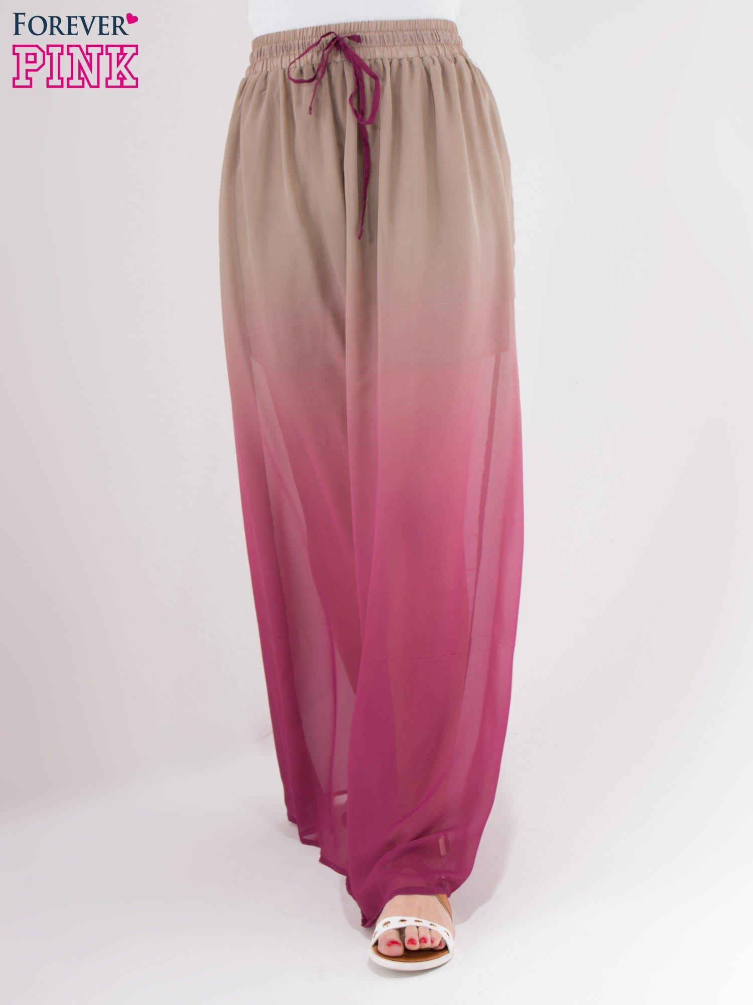 Jasnobrązowa długa spódnica maxi z efektem ombre                                  zdj.                                  1