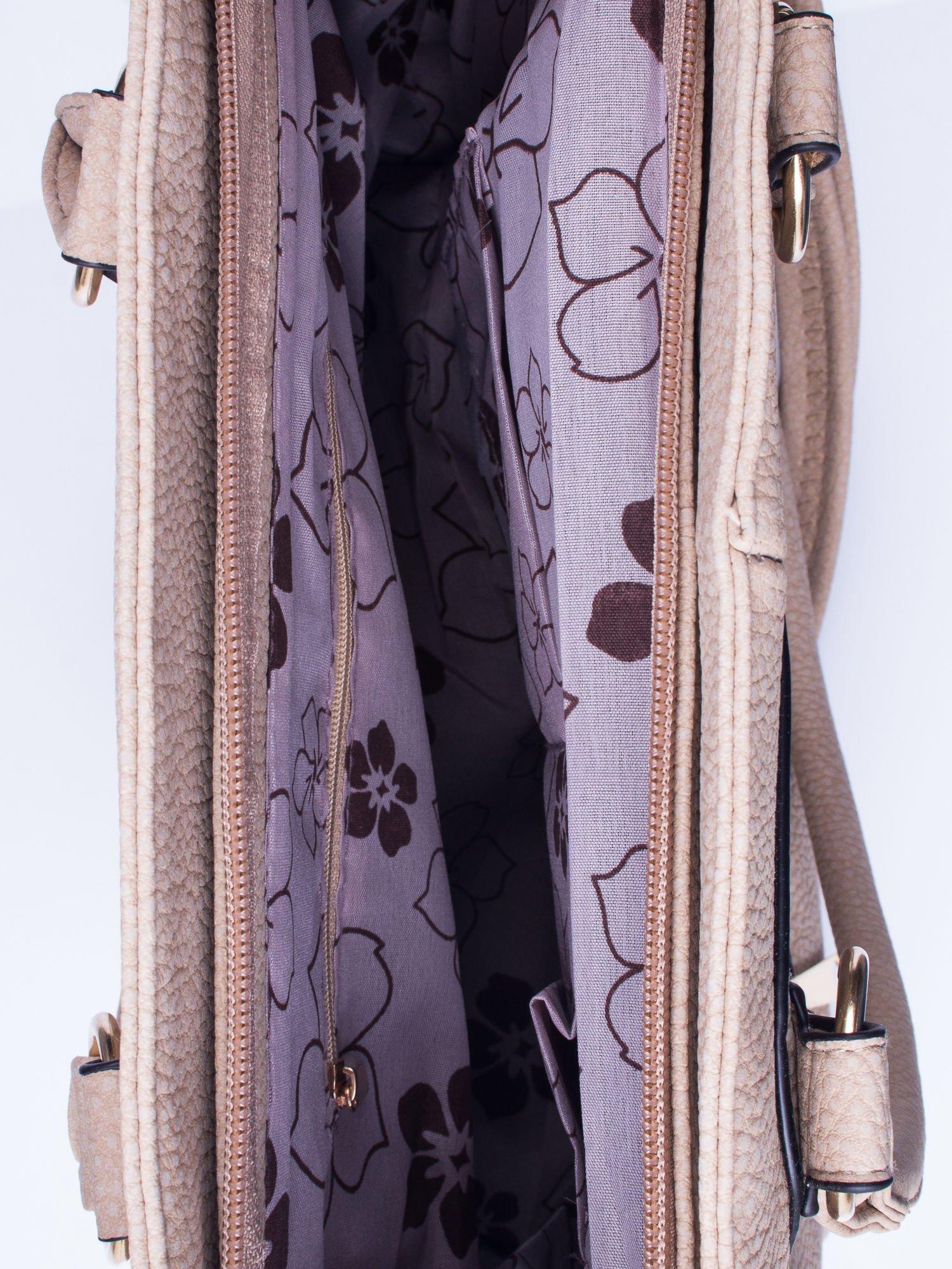 Jasnobrązowa torba shopper bag z suwakiem                                  zdj.                                  4