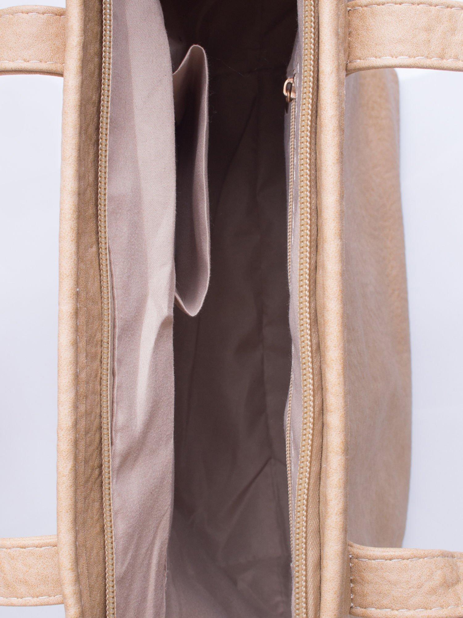 Jasnobrązowa torebka shopper bag z kokardką                                  zdj.                                  5