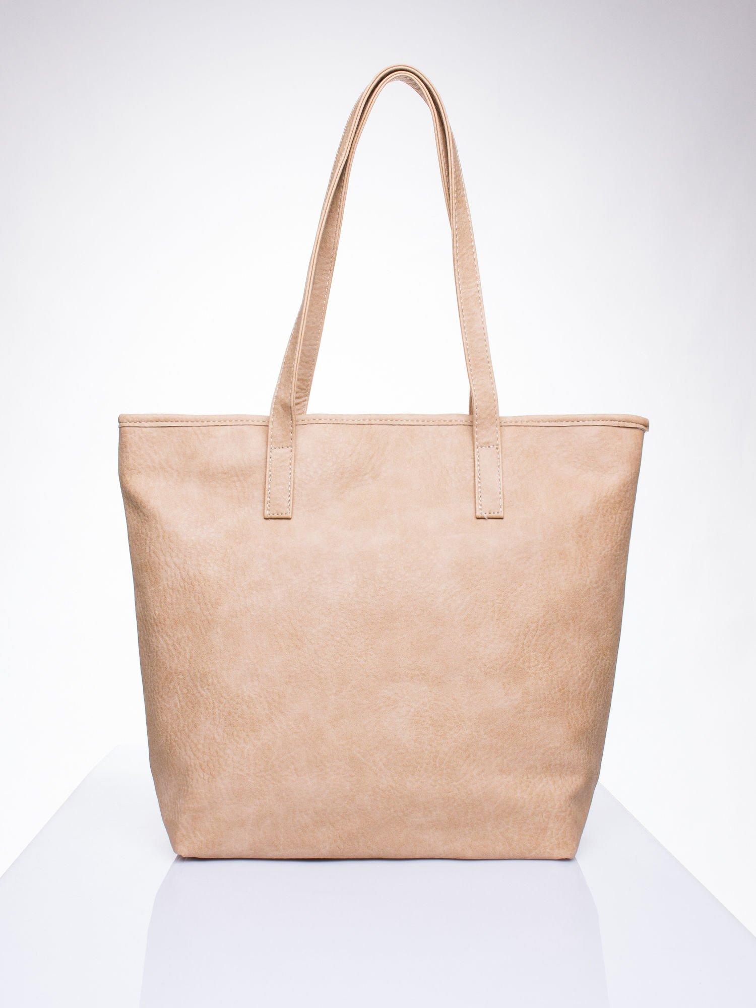 Jasnobrązowa torebka shopper bag z kokardką                                  zdj.                                  4