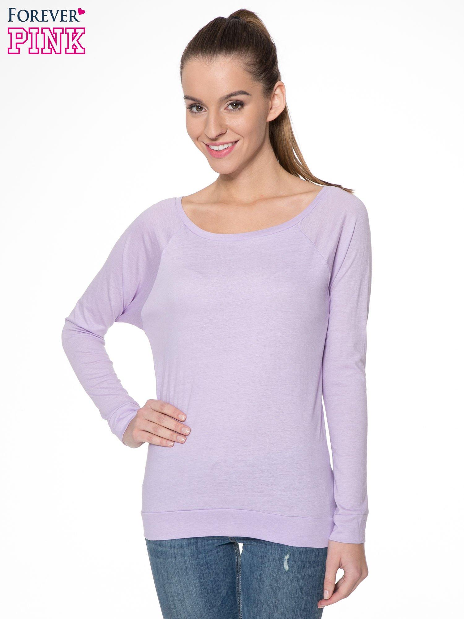 Jasnofioletowa bawełniana bluzka z rękawami typu reglan                                  zdj.                                  1