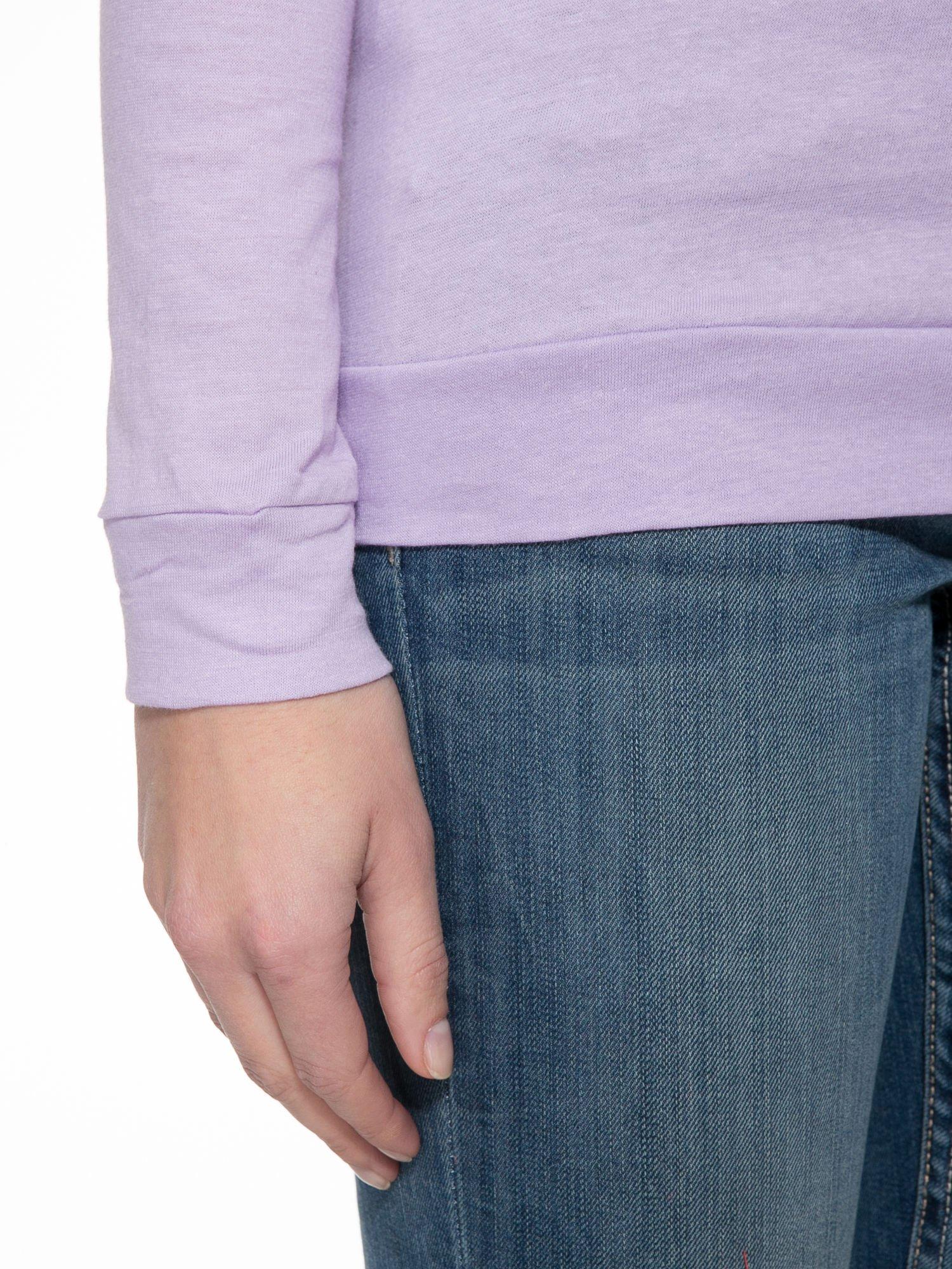 Jasnofioletowa bawełniana bluzka z rękawami typu reglan                                  zdj.                                  6