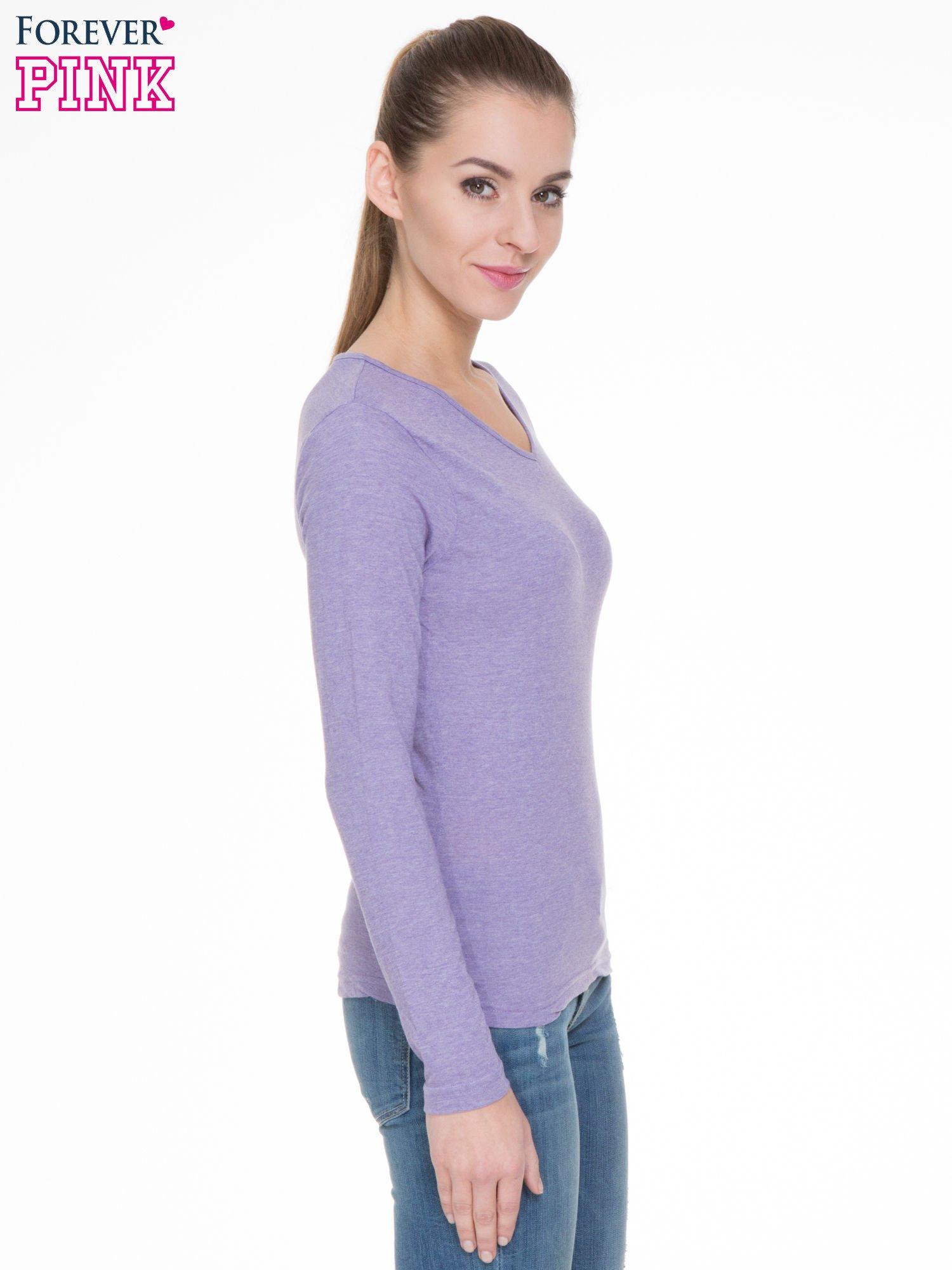 Jasnofioletowa bluzka z długim rękawem z bawełny                                  zdj.                                  3