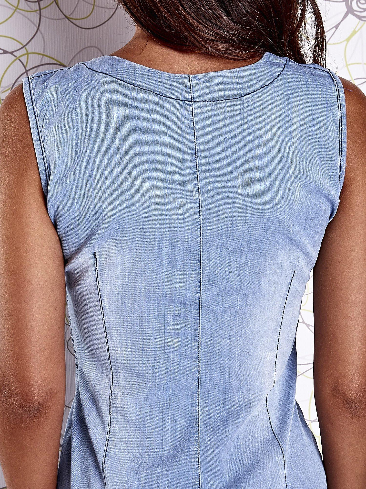 Jasnoniebieska denimowa sukienka z suwakiem                                  zdj.                                  8