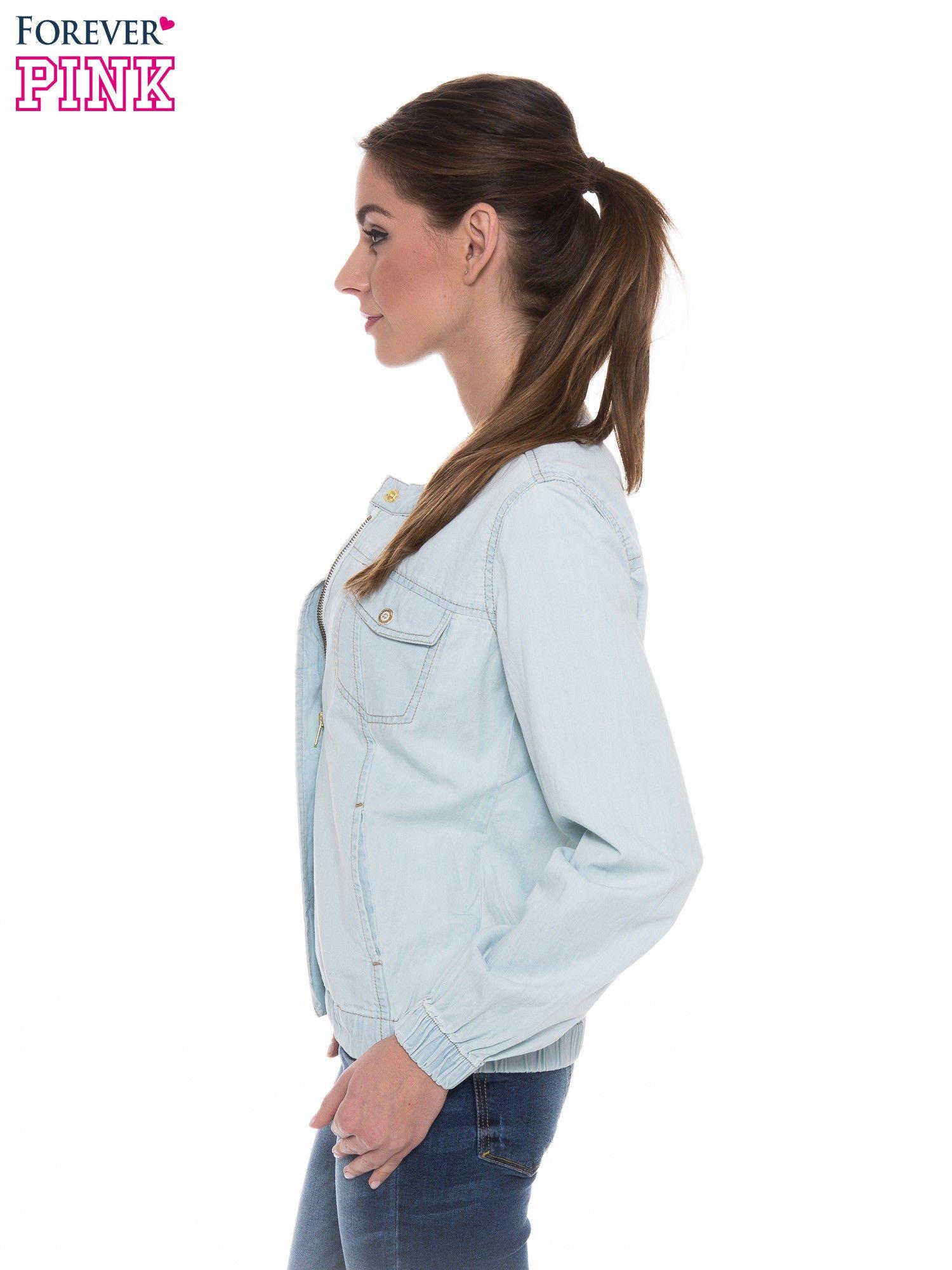 Jasnoniebieska kurtka jeansowa typu bomber jacket                                  zdj.                                  3