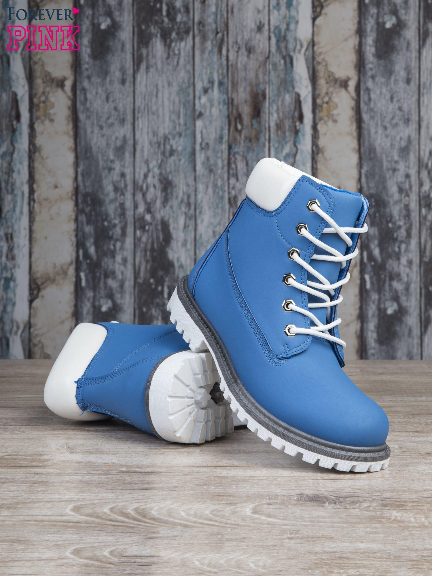 Jasnoniebieskie buty trekkingowe damskie Amina traperki ocieplane                                  zdj.                                  4