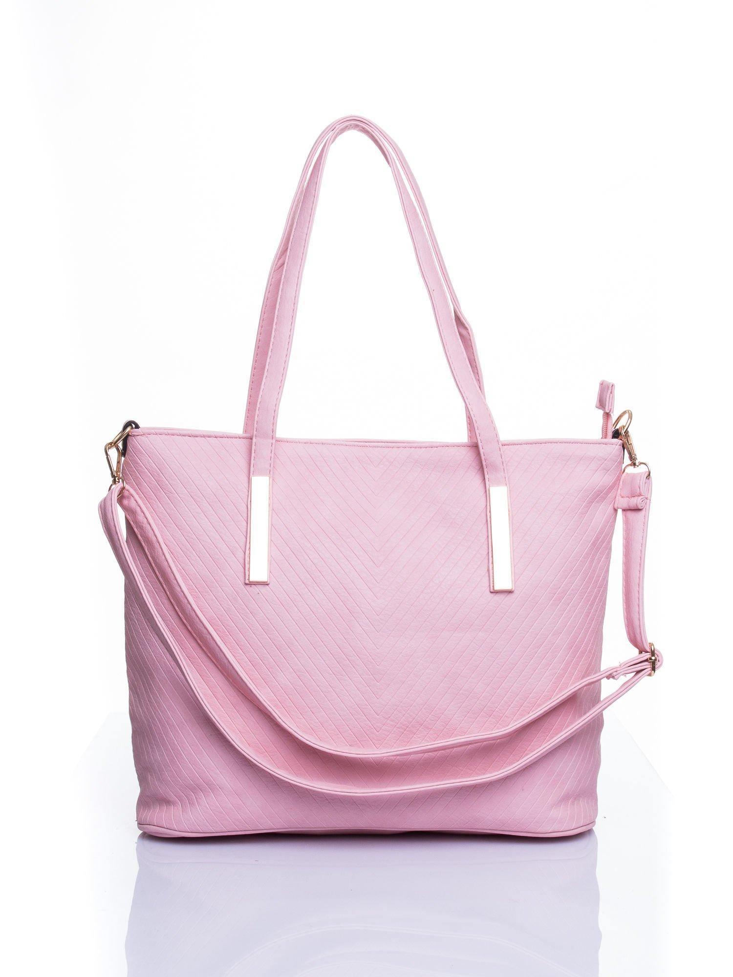 Jasnoróżowa fakturowana torba shopper bag                                  zdj.                                  1