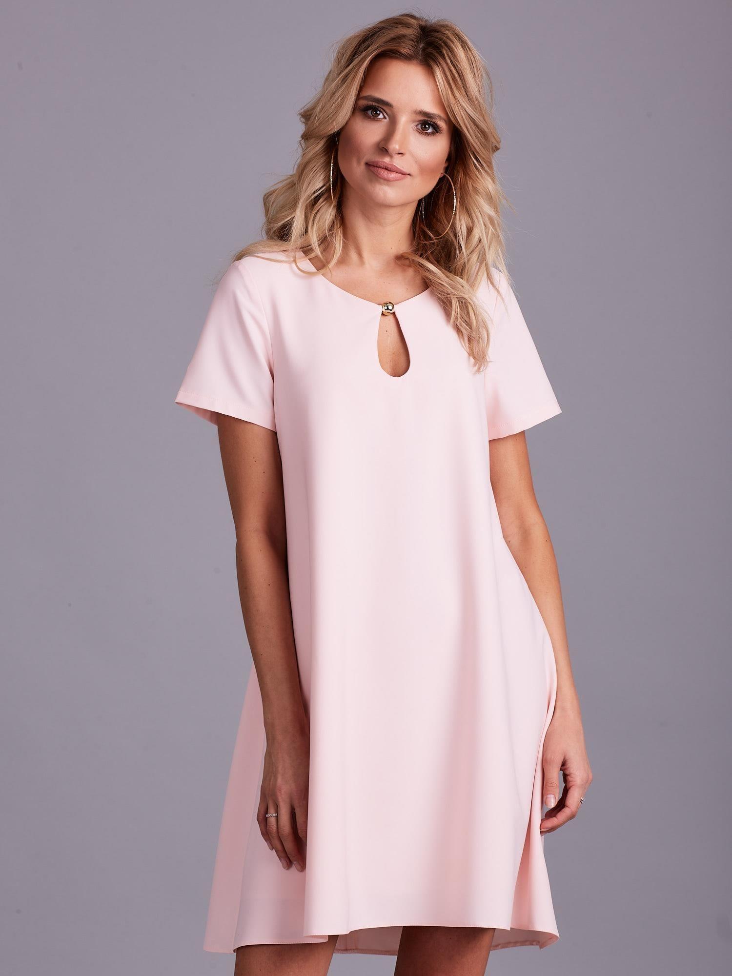 40c6656795 Jasnoróżowa luźna elegancka sukienka - Sukienka koktajlowa - sklep ...