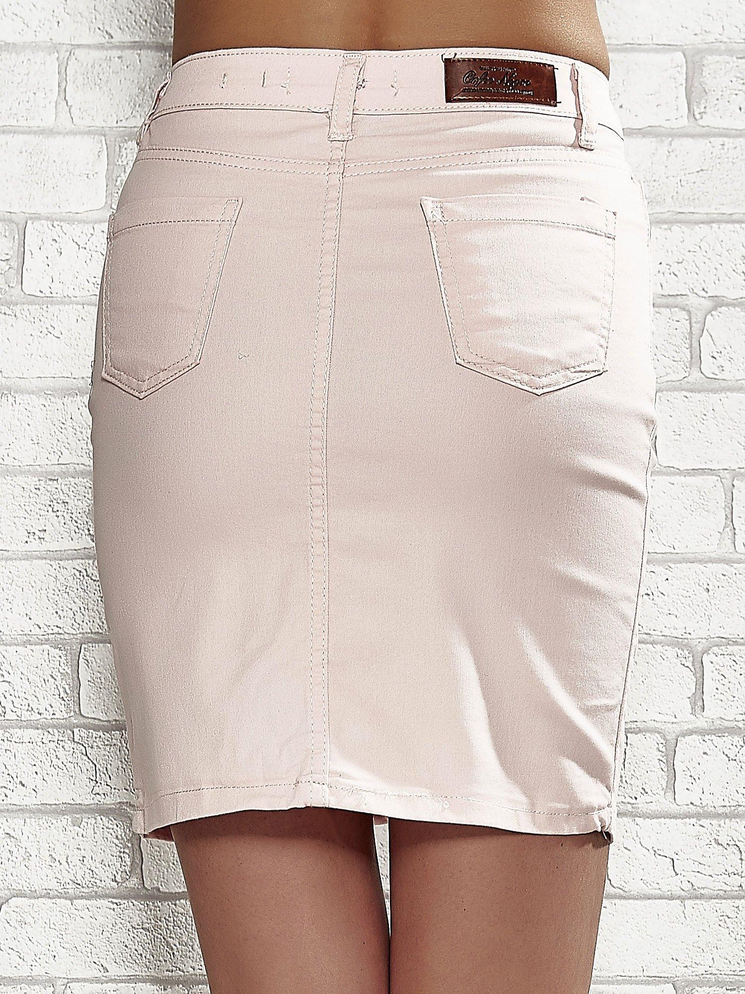 Jasnoróżowa spódnica z zapięciem na guzik                                  zdj.                                  6