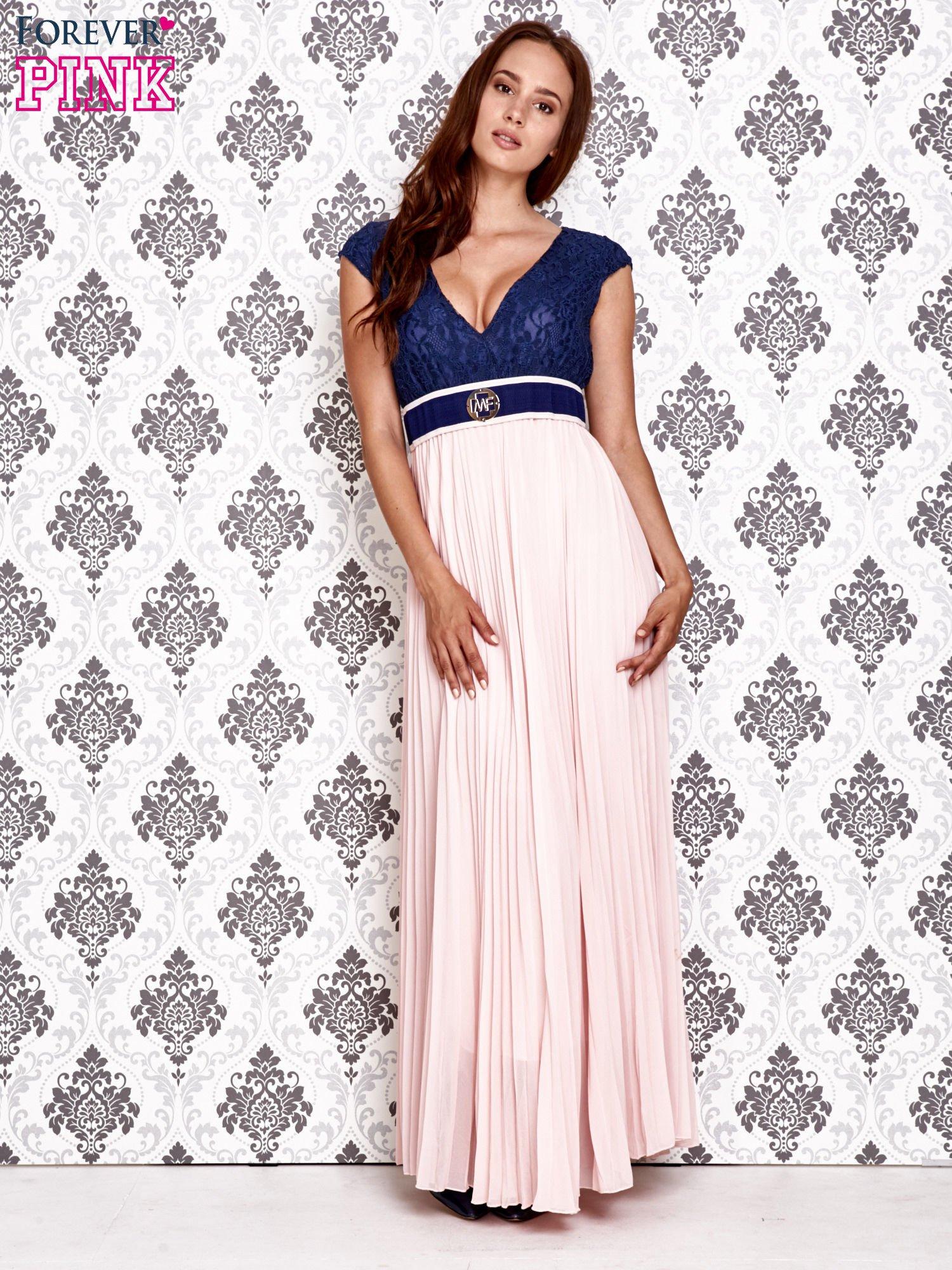 Jasnoróżowa sukienka maxi z koronkową górą i klamrą                                  zdj.                                  2