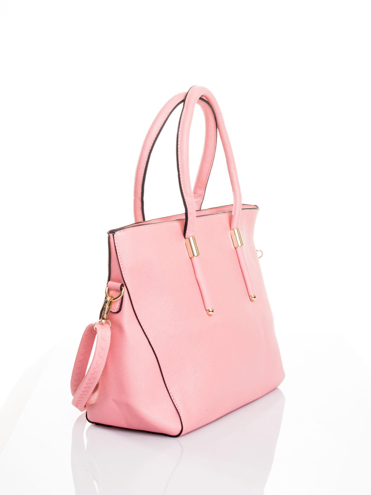 Jasnoróżowa torba shopper efekt saffiano                                  zdj.                                  3