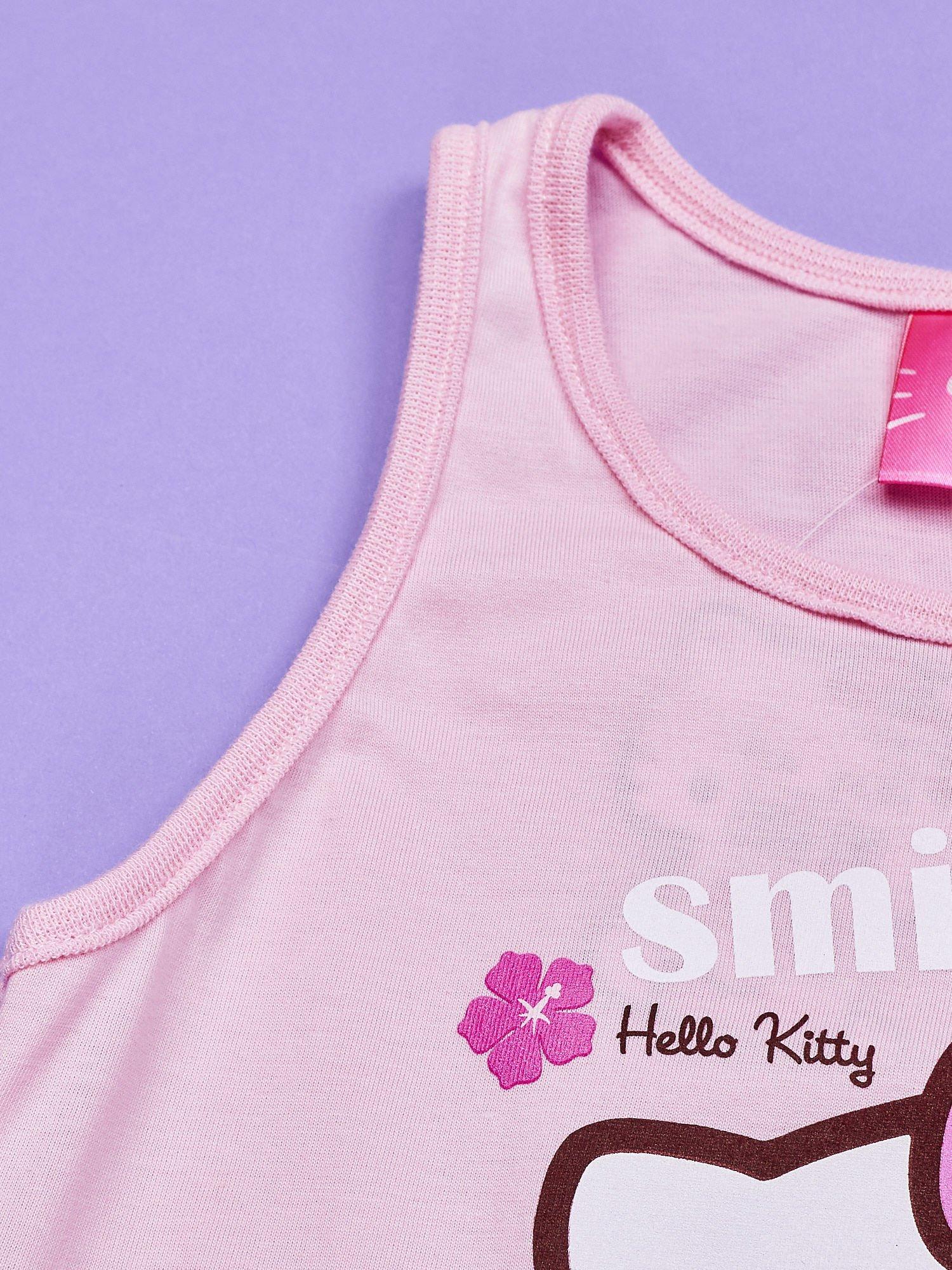 Jasnoróżowy t-shirt dla dziewczynki bez rękawów HELLO KITTY                                  zdj.                                  4