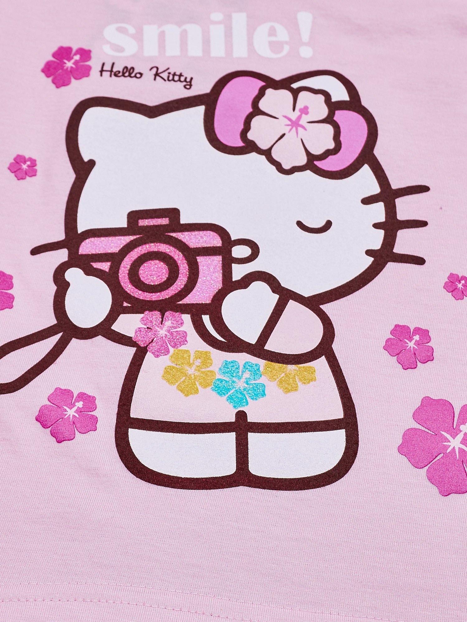 Jasnoróżowy t-shirt dla dziewczynki bez rękawów HELLO KITTY                                  zdj.                                  5