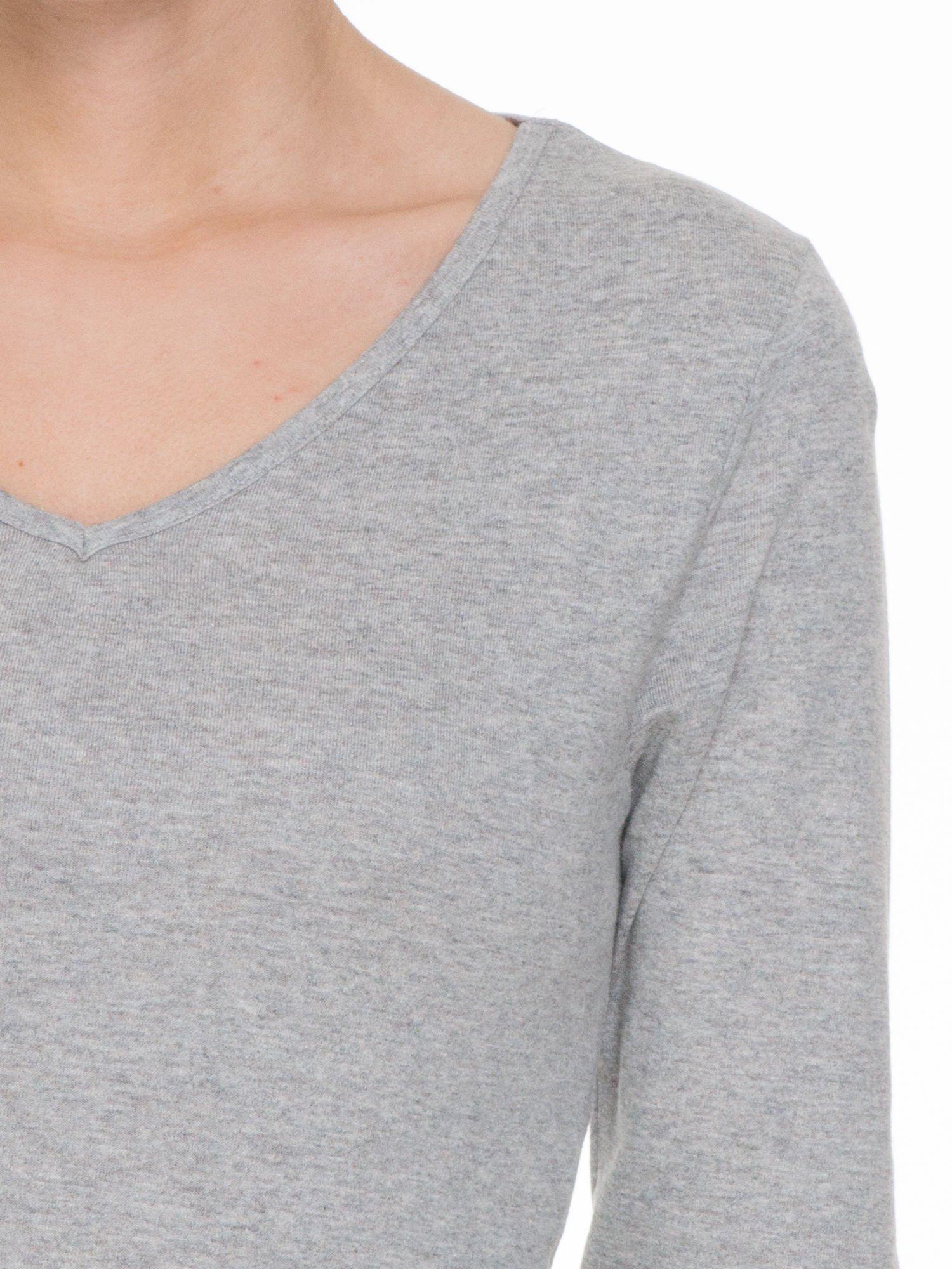 Jasnoszara bluzka z długim rękawem z bawełny                                  zdj.                                  5