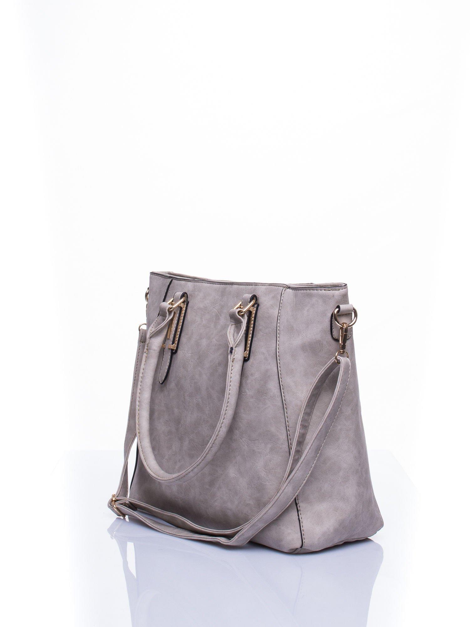 Jasnoszara fakturowana torba z odpinanym paskiem                                  zdj.                                  3