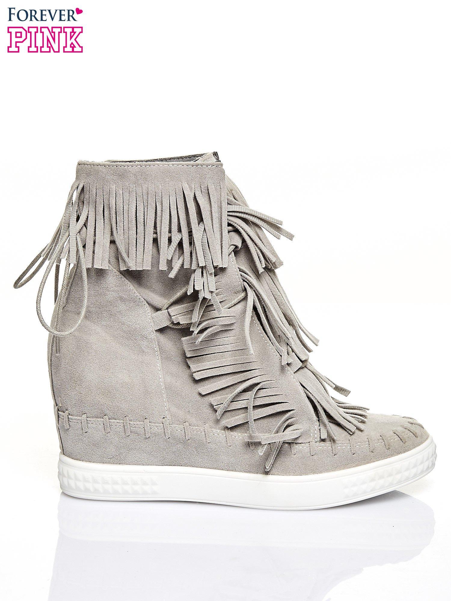 Jasnoszare sneakersy damskie z frędzlami                                  zdj.                                  1
