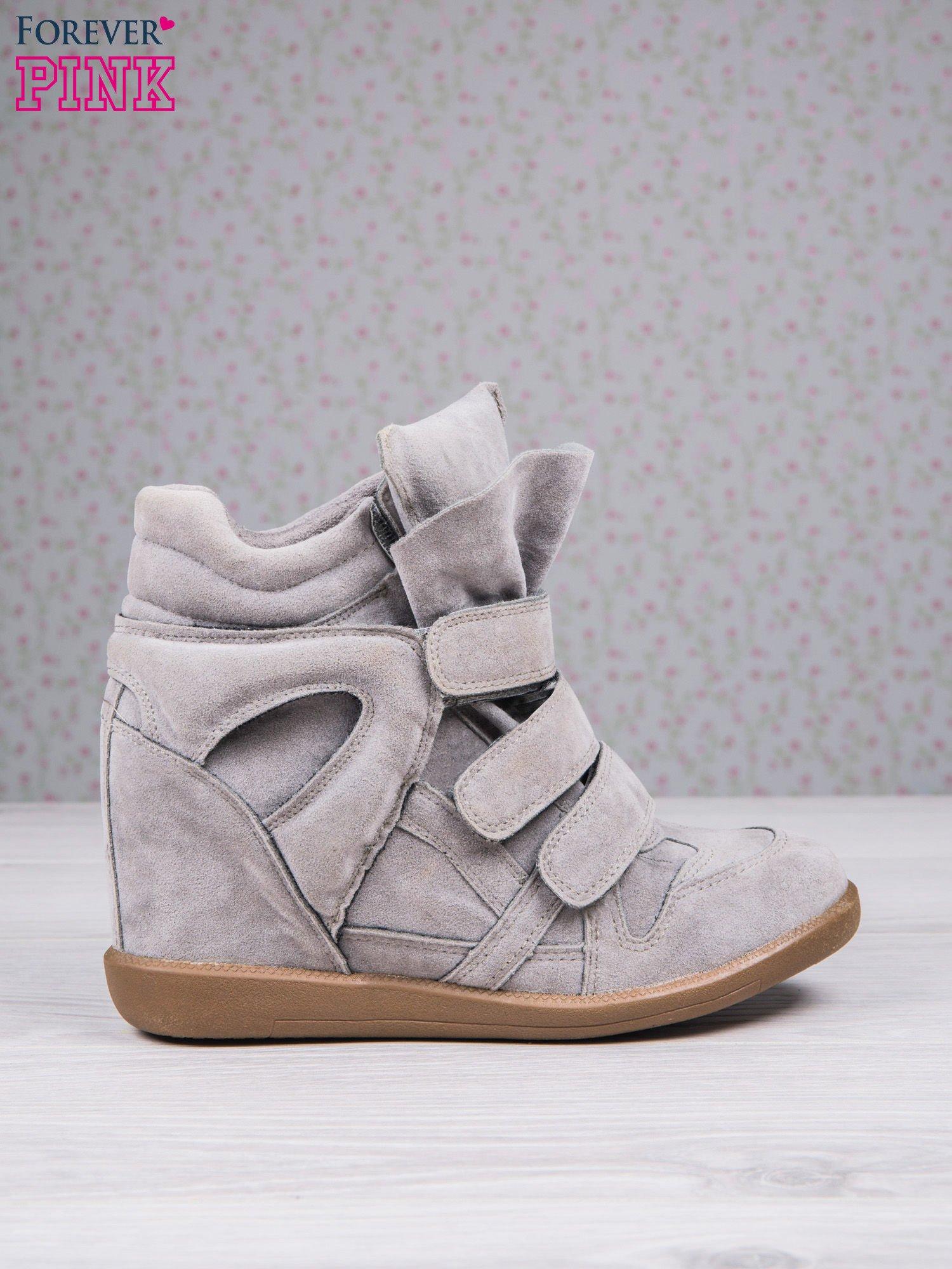 Jasnoszare zamszowe sneakersy na rzepy Tris                                  zdj.                                  1