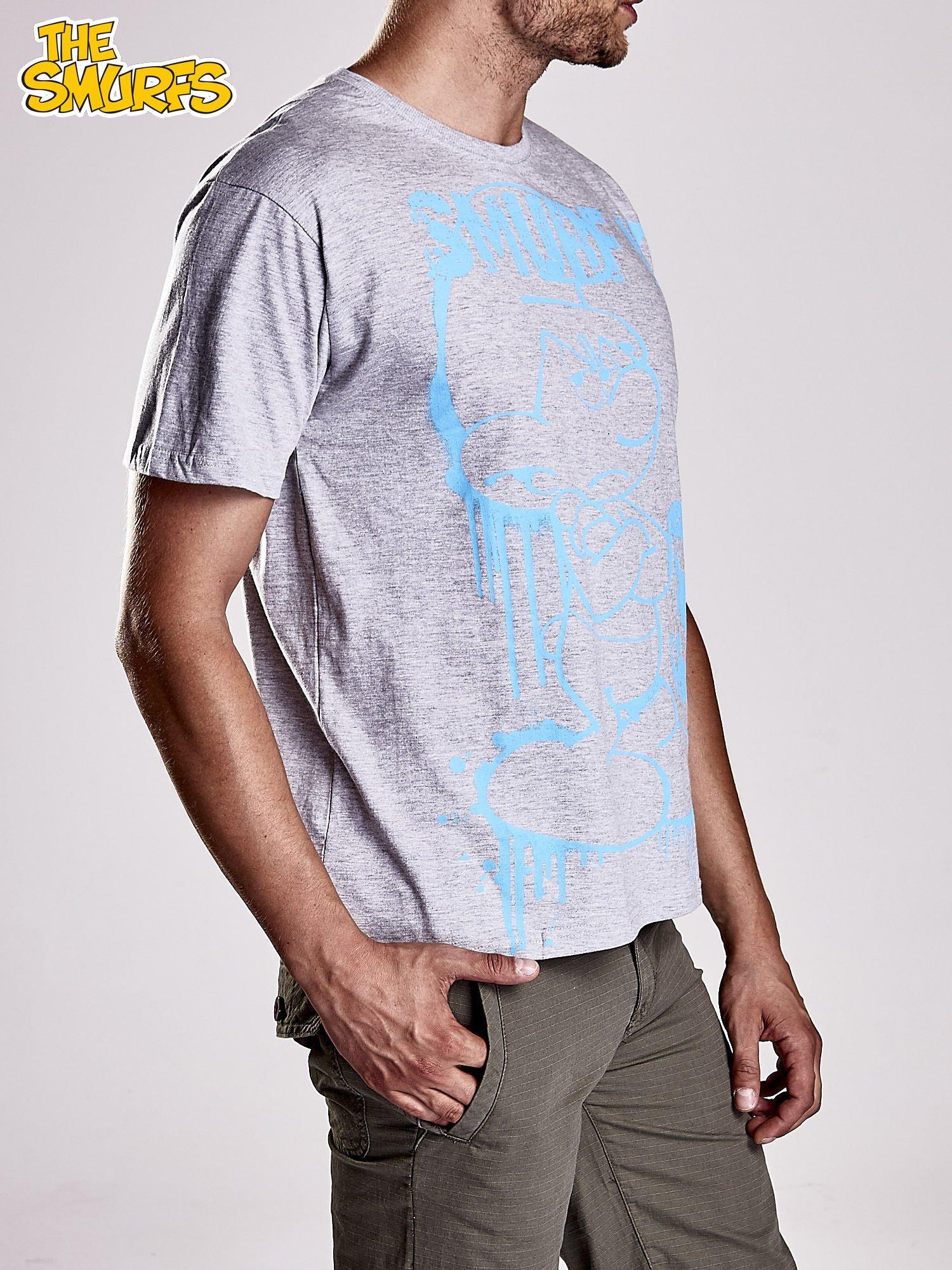 Jasnoszary t-shirt męski SMERFY                                  zdj.                                  4