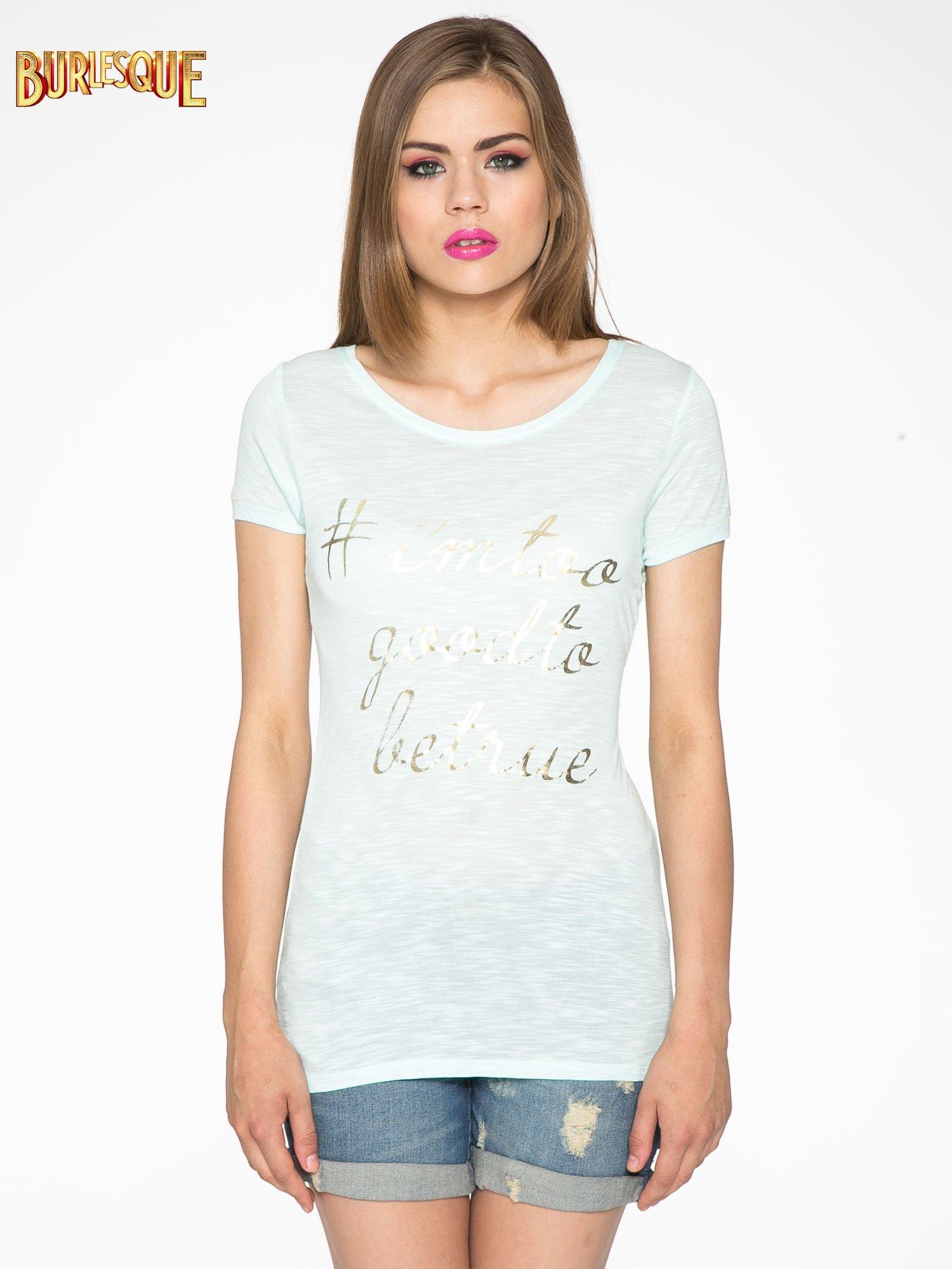 Jasnozielony t-shirt ze złotym hasztagiem                                  zdj.                                  12