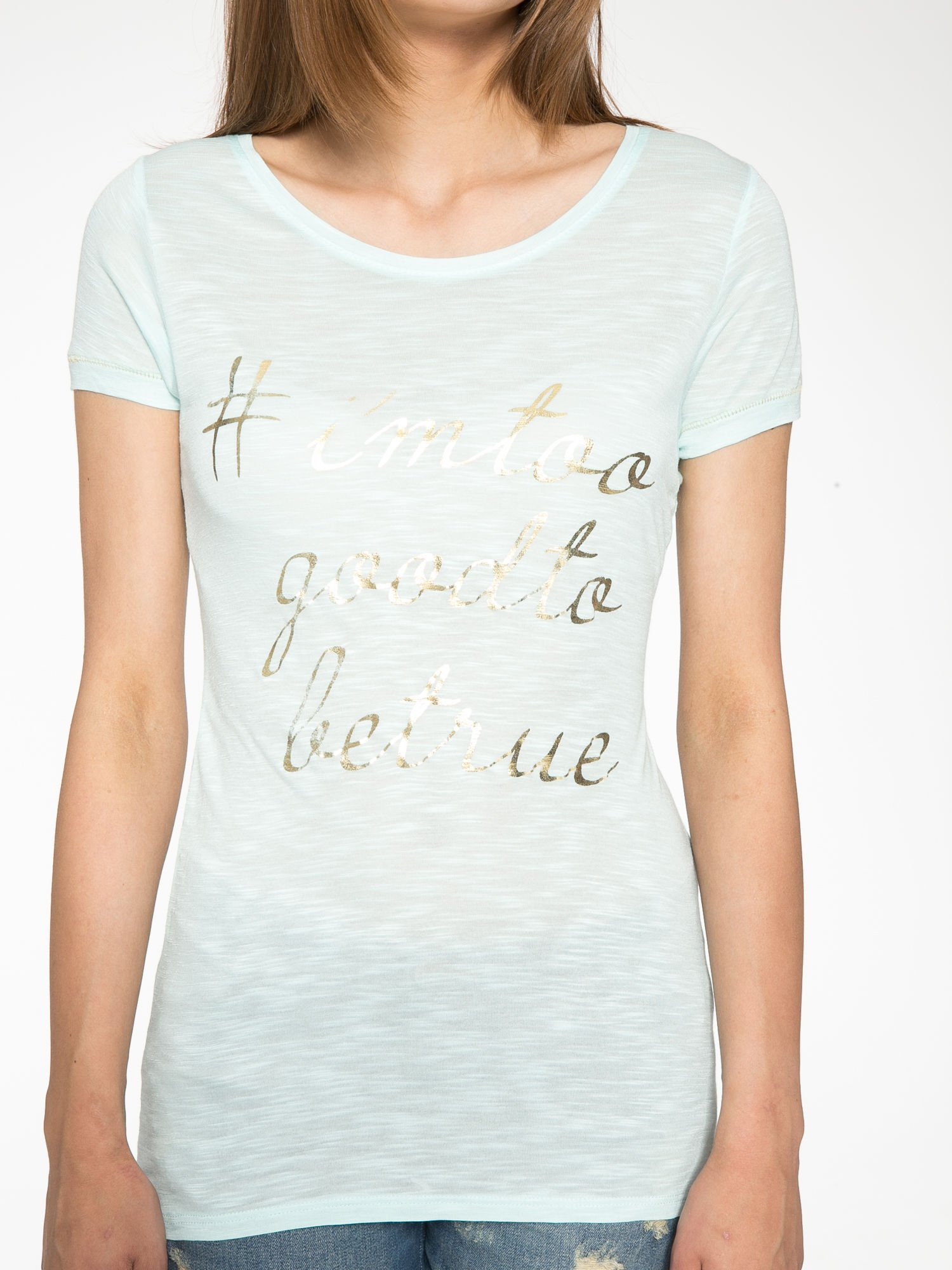 Jasnozielony t-shirt ze złotym hasztagiem                                  zdj.                                  7