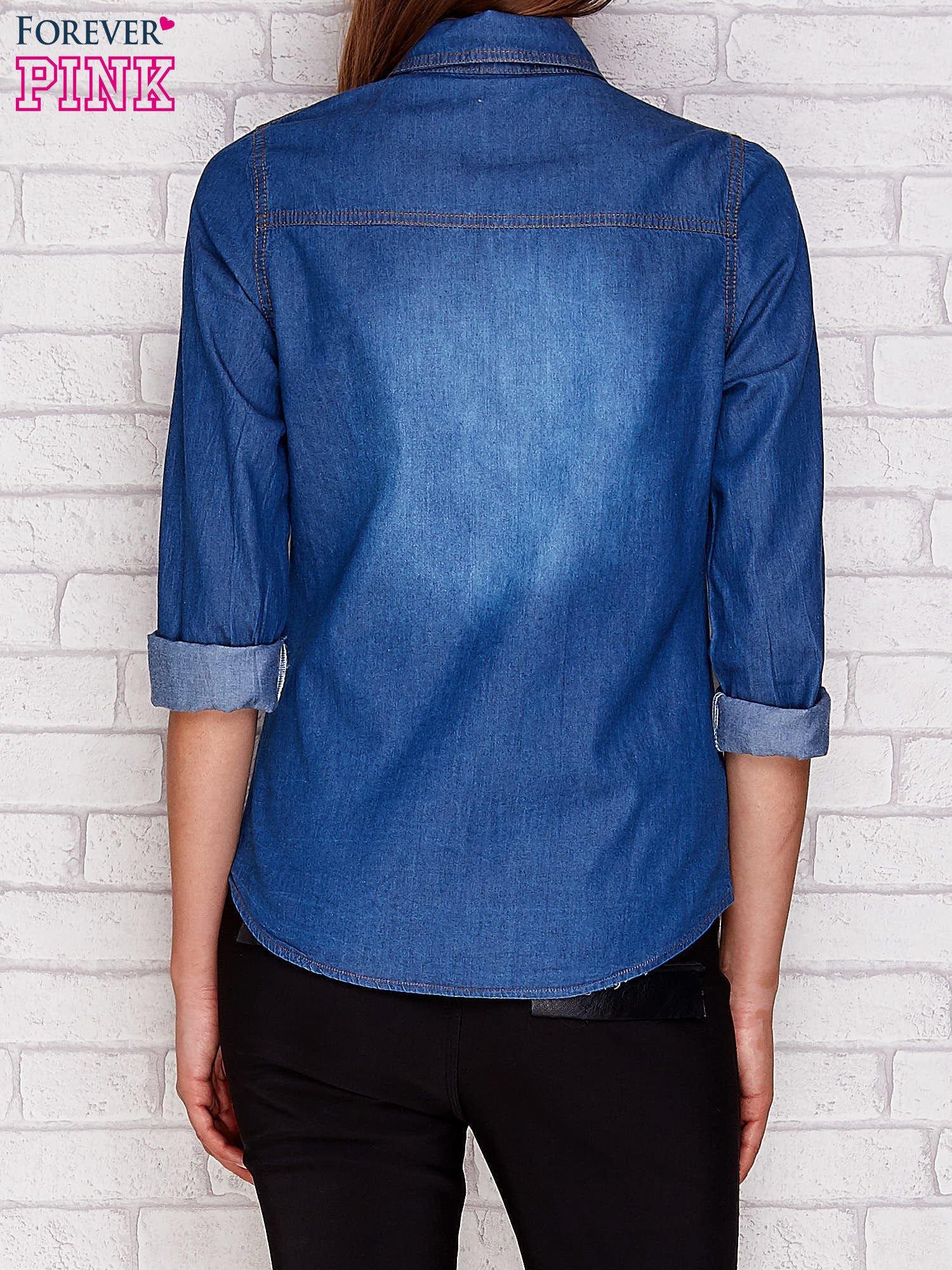 Jeansowa koszula ze skórzanymi wstawkami ciemnoniebieska