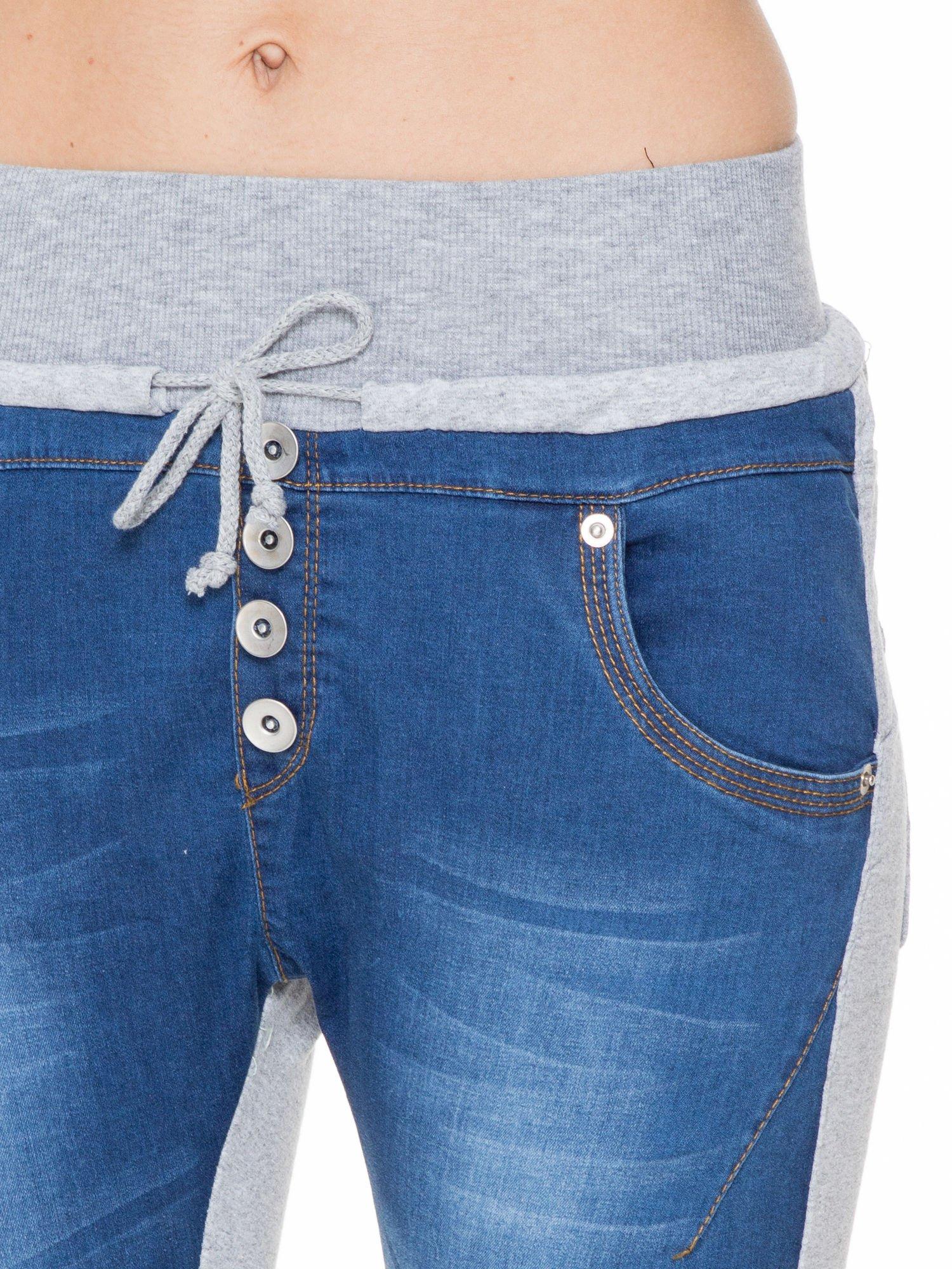 Jeansowo-dresowe spodnie typu tregginsy z wysokim pasem                                  zdj.                                  8