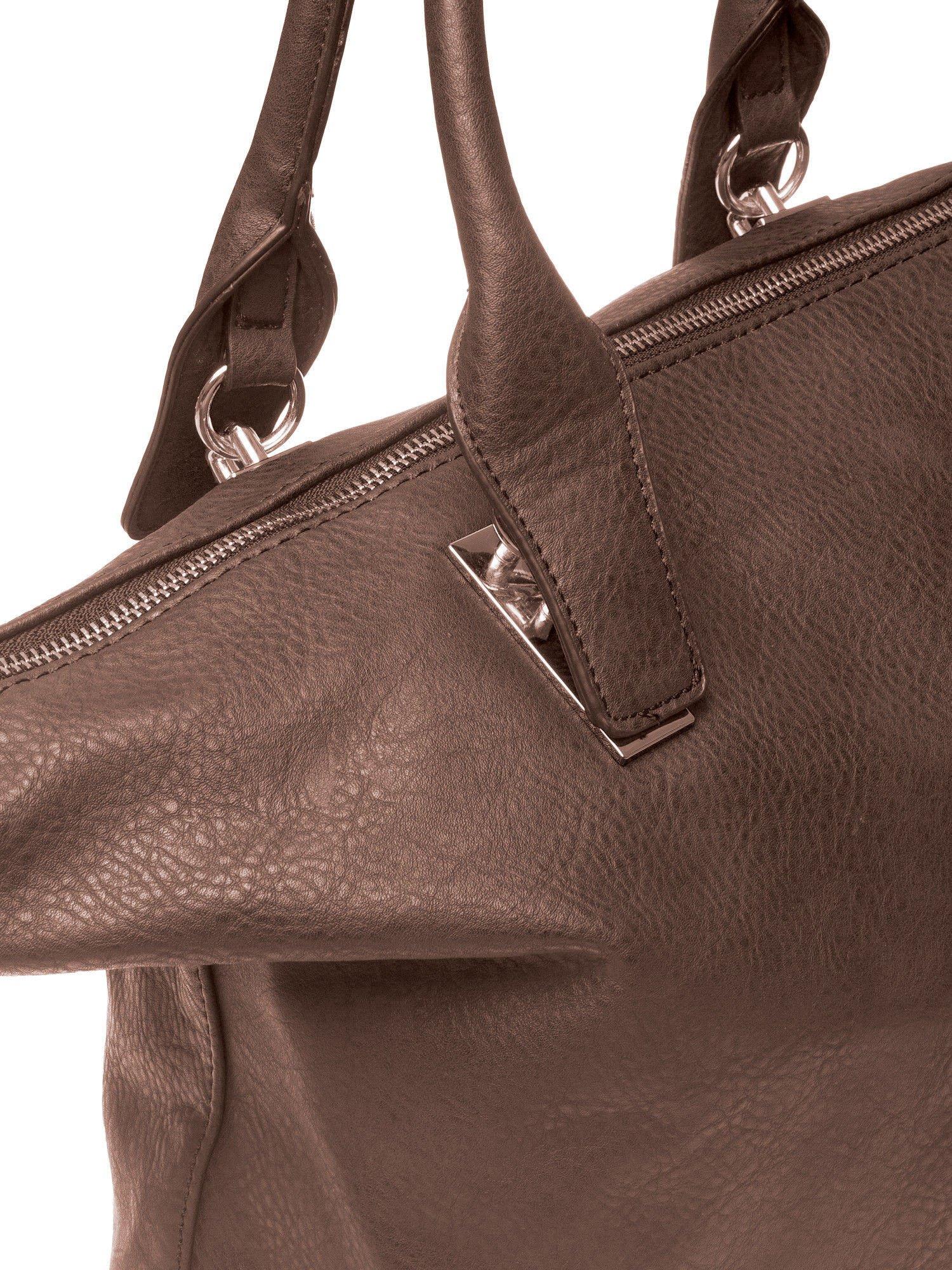 Kawowa torba shopper bag ze złotymi detalami                                  zdj.                                  3