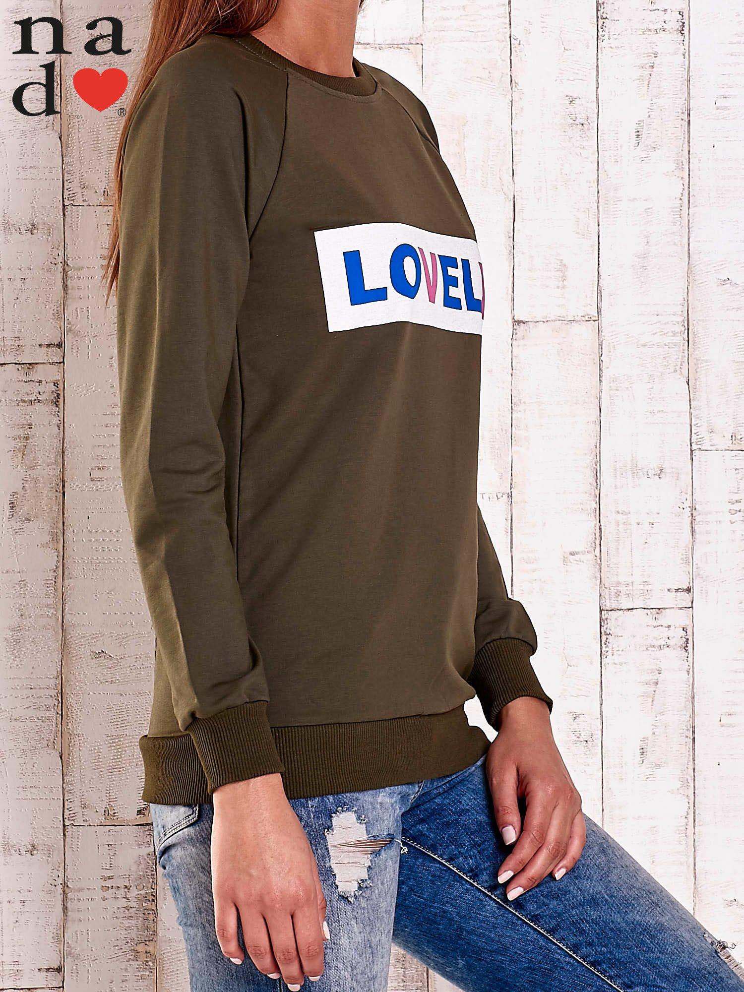 Khaki bluza z napisem LOVELY                                  zdj.                                  4