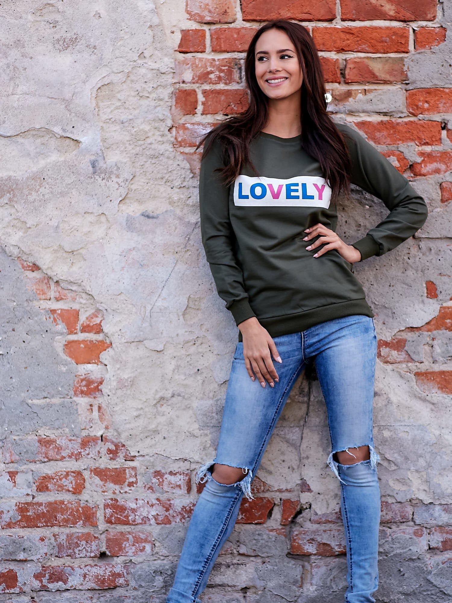 Khaki bluza z napisem LOVELY                                  zdj.                                  6