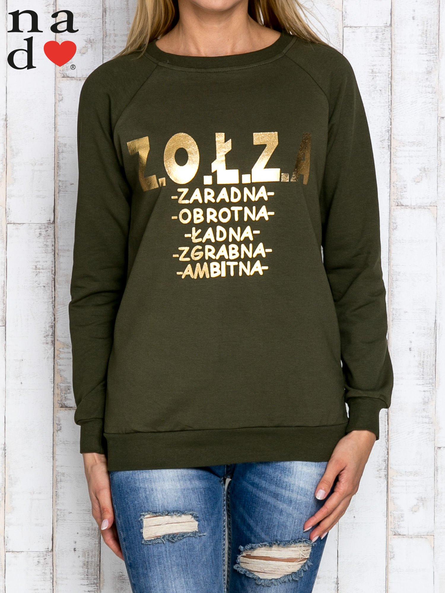 Khaki bluzka z napisem ZOŁZA                                  zdj.                                  1