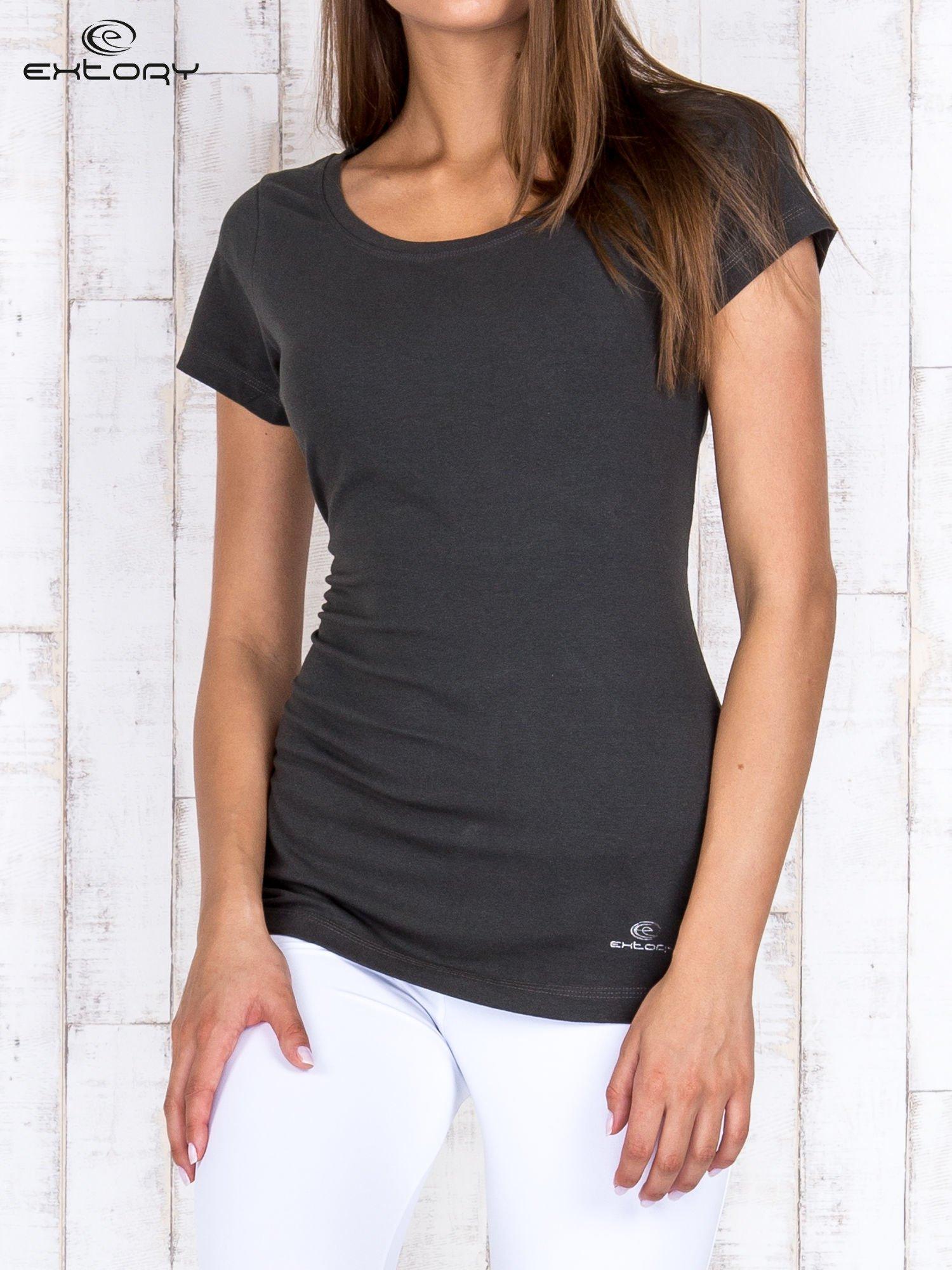 Khaki damski t-shirt sportowy basic PLUS SIZE                                  zdj.                                  1