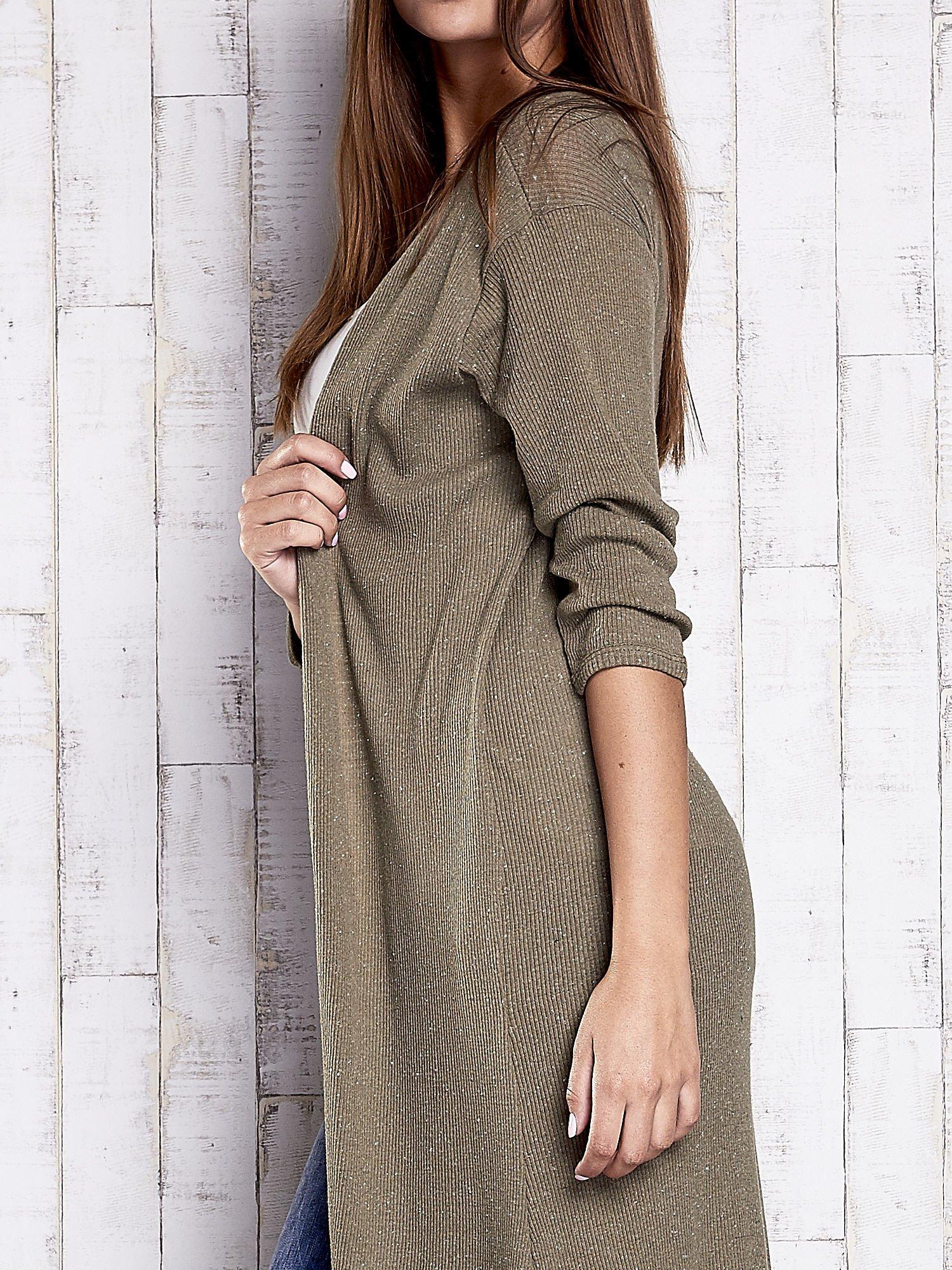 Khaki długi sweter z rozcięciami                                  zdj.                                  6