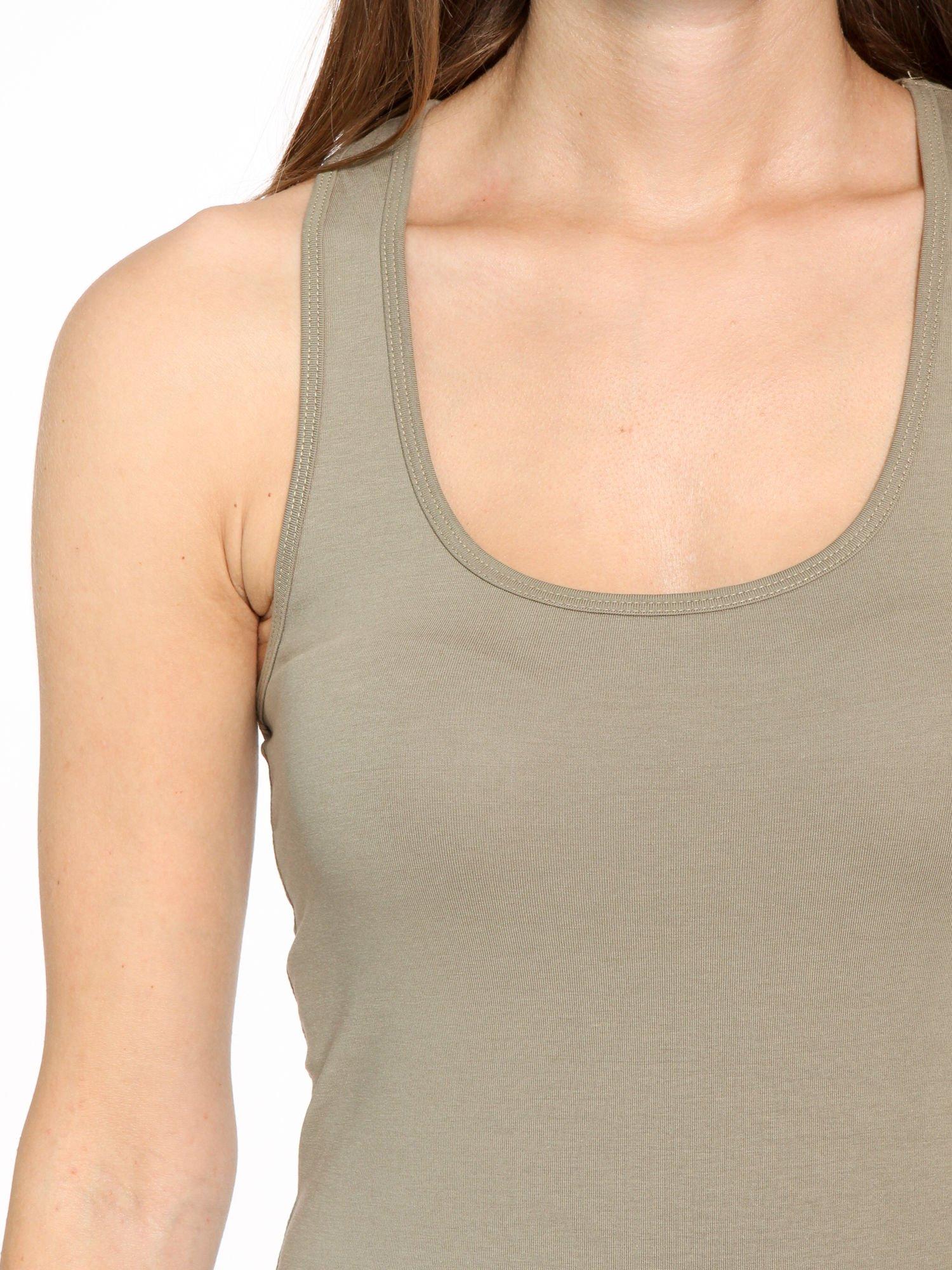 Khaki jednolity top na gładkich ramiączkach                                  zdj.                                  5