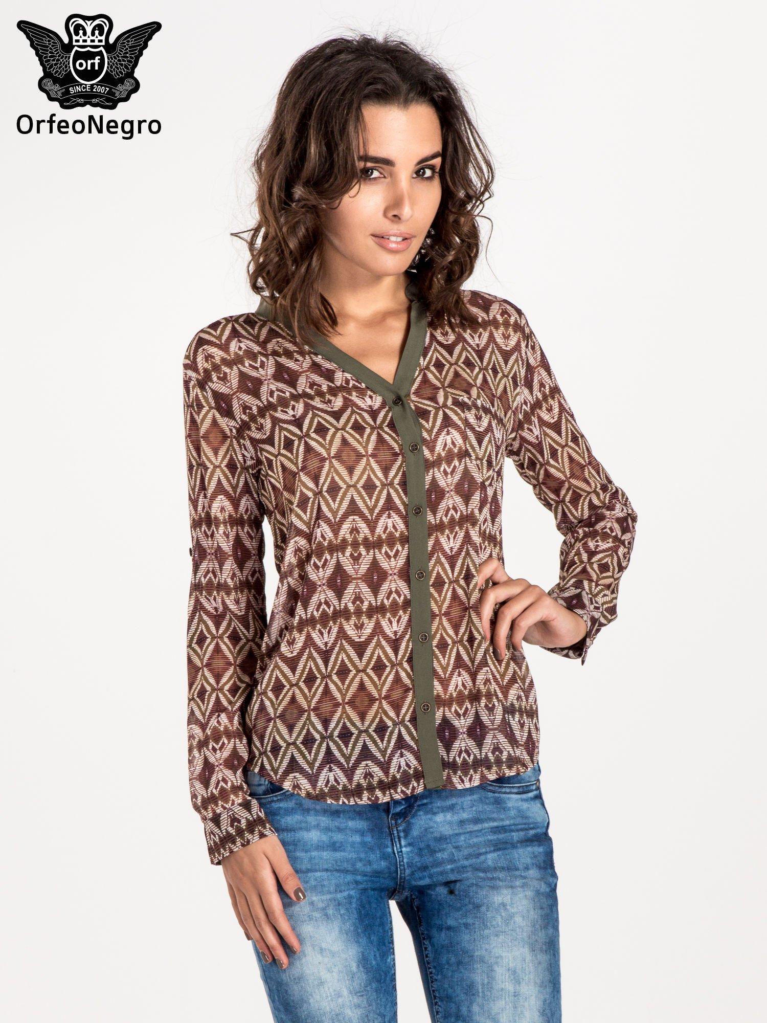 Khaki koszula w etniczne wzory                                   zdj.                                  1