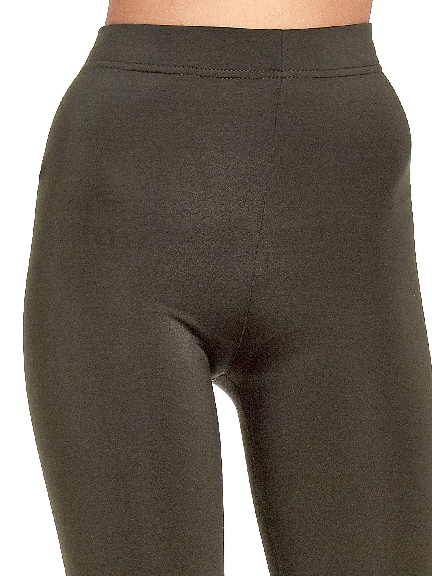 Khaki legginsy basic z lekkim ociepleniem                                  zdj.                                  5