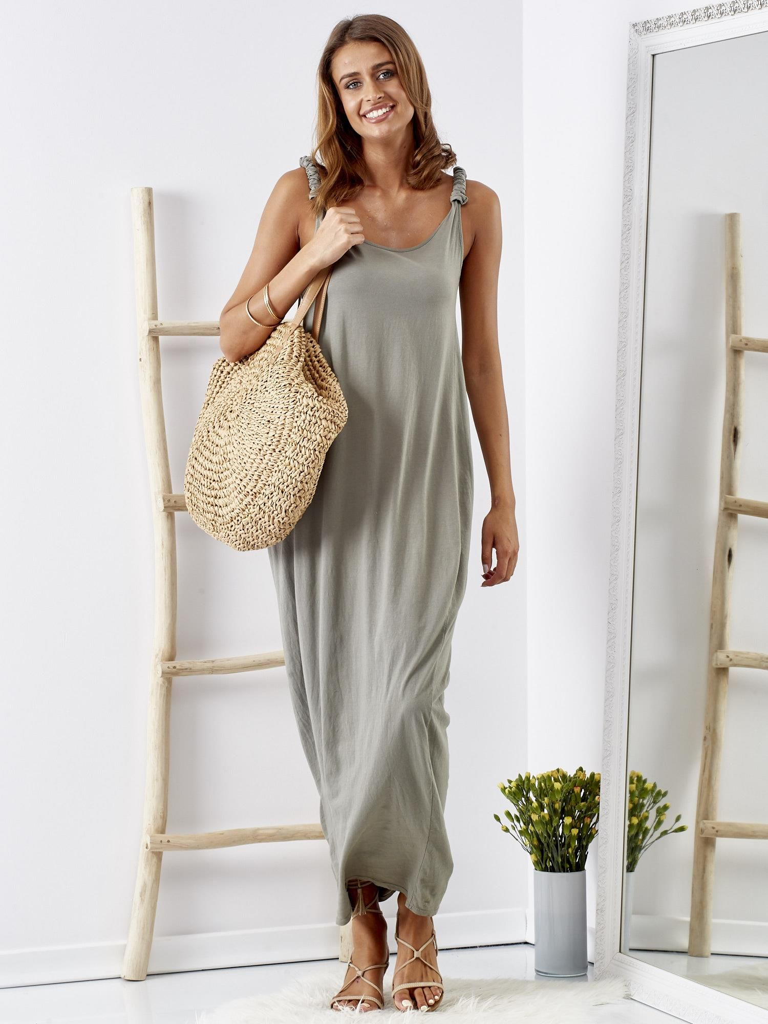 16070daf6b Khaki luźna sukienka maxi z dekoltem na plecach - Sukienka na co ...