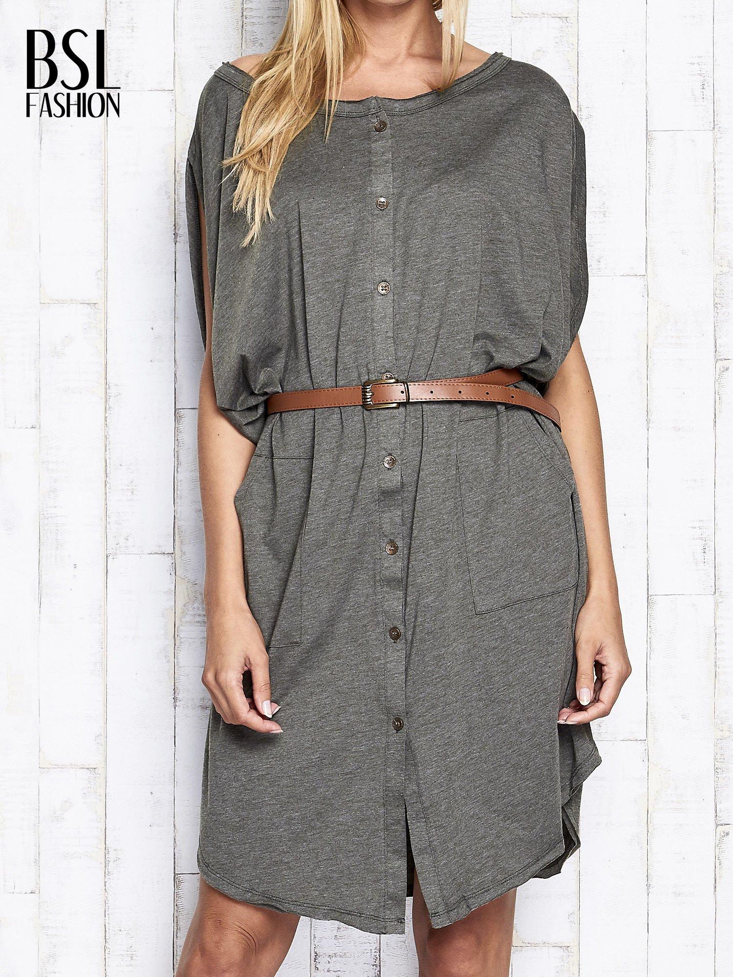 Khaki melanżowa sukienka oversize z guzikami                                  zdj.                                  1