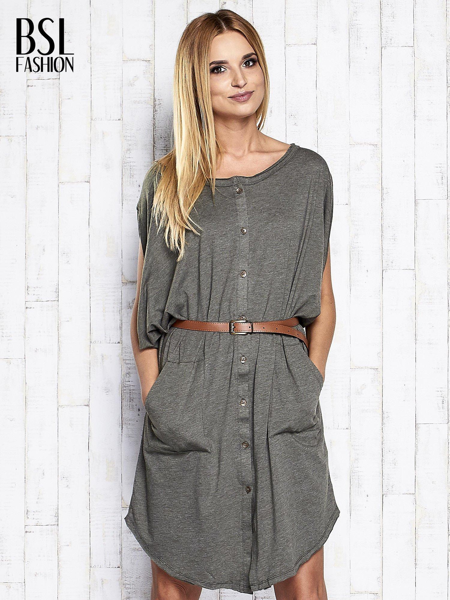 Khaki melanżowa sukienka oversize z guzikami                                  zdj.                                  3